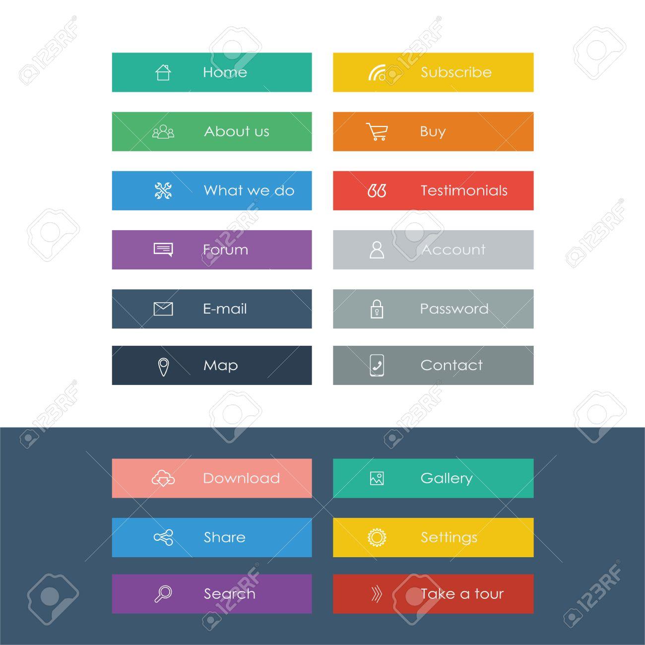 conjunto de iconos del diseño planas en las barras de colores para