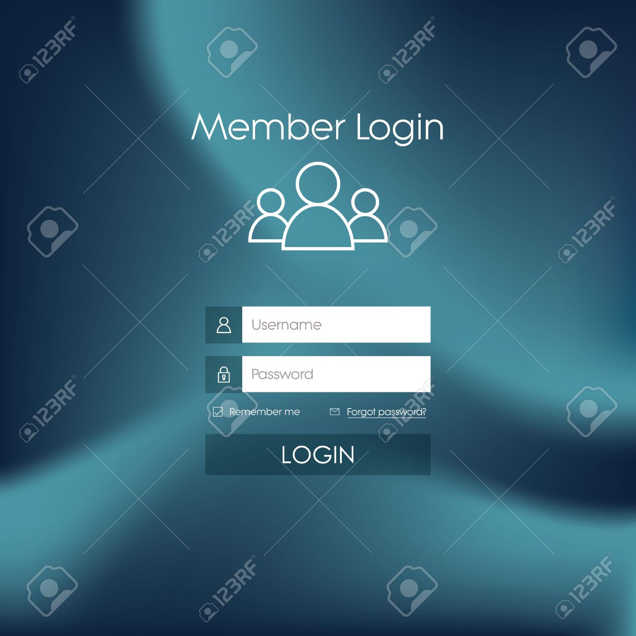 login form menu with simple line icons blurred background websitelogin form menu with simple line icons blurred background website element for your web