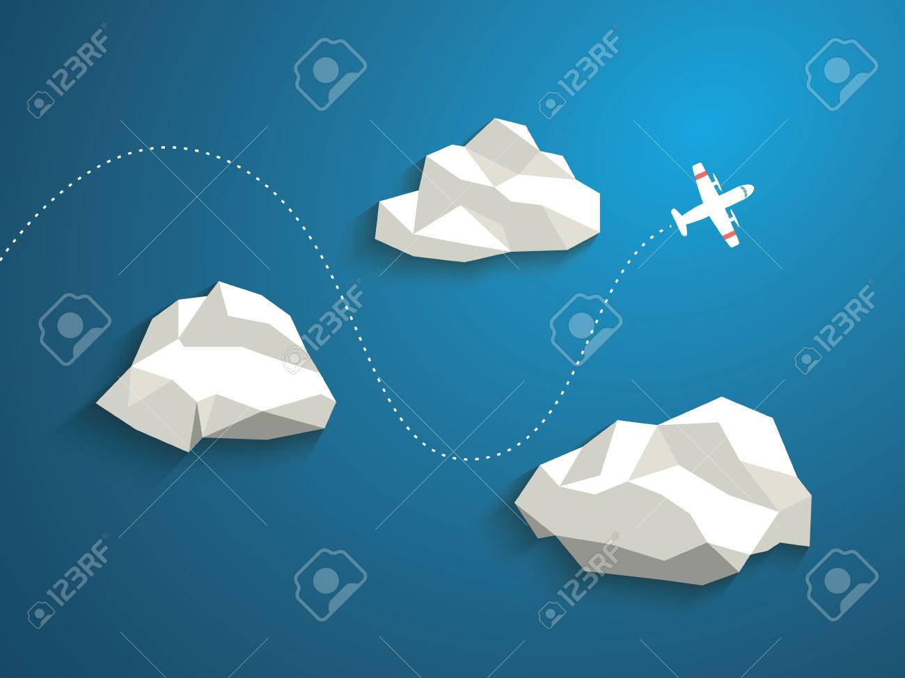 plane and low polygonal clouds on blue sky. infographics or, Presentation templates
