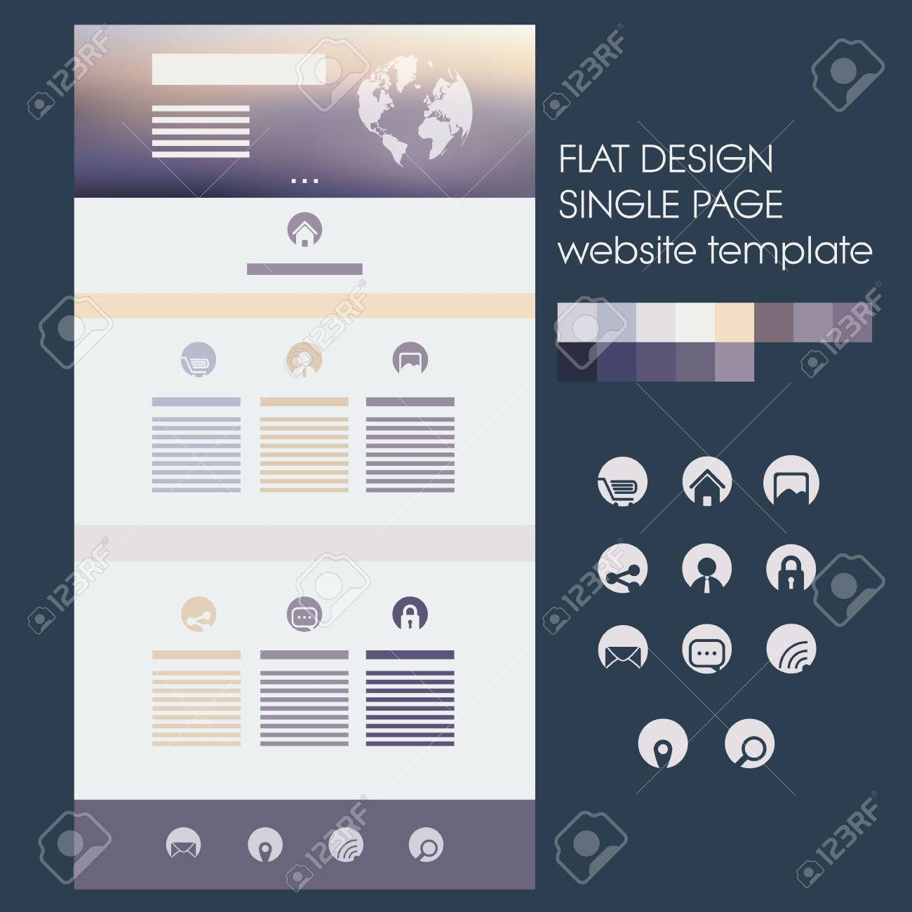 Website soft colors - Single Page Website Template With Blurred Background In Soft Purple Gold Colors Modern Flat