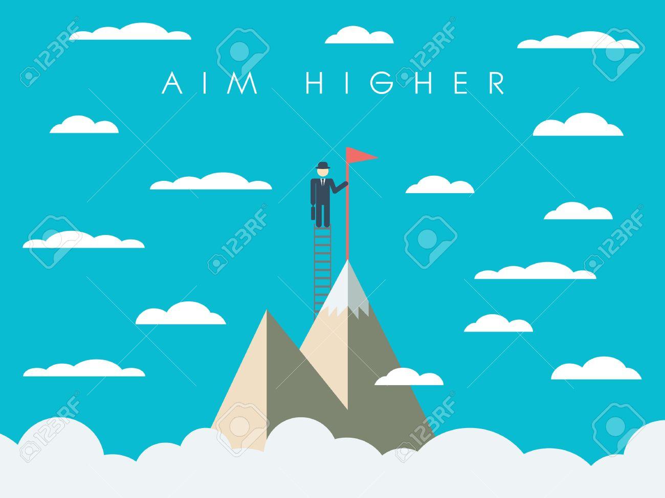 Career Or Business Mission Motivation Poster Wallpaper Background Businessman On Ladder Mountain