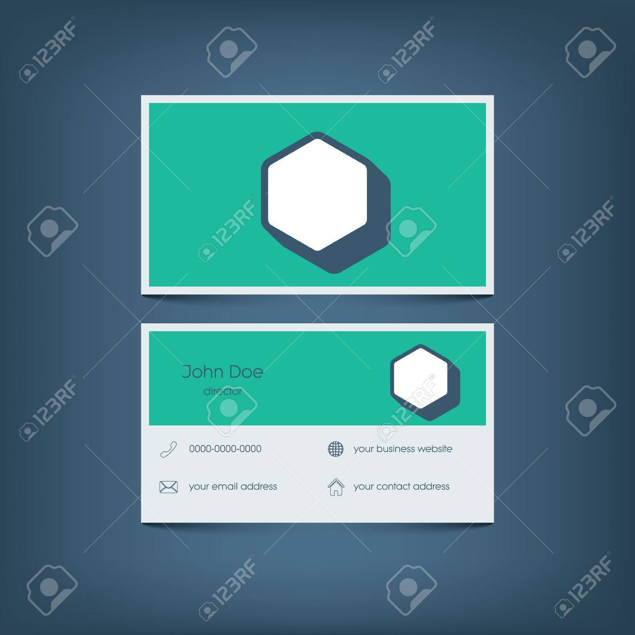 Modern flat design business card template graphic user interface modern flat design business card template graphic user interface with line icons for website reheart Images