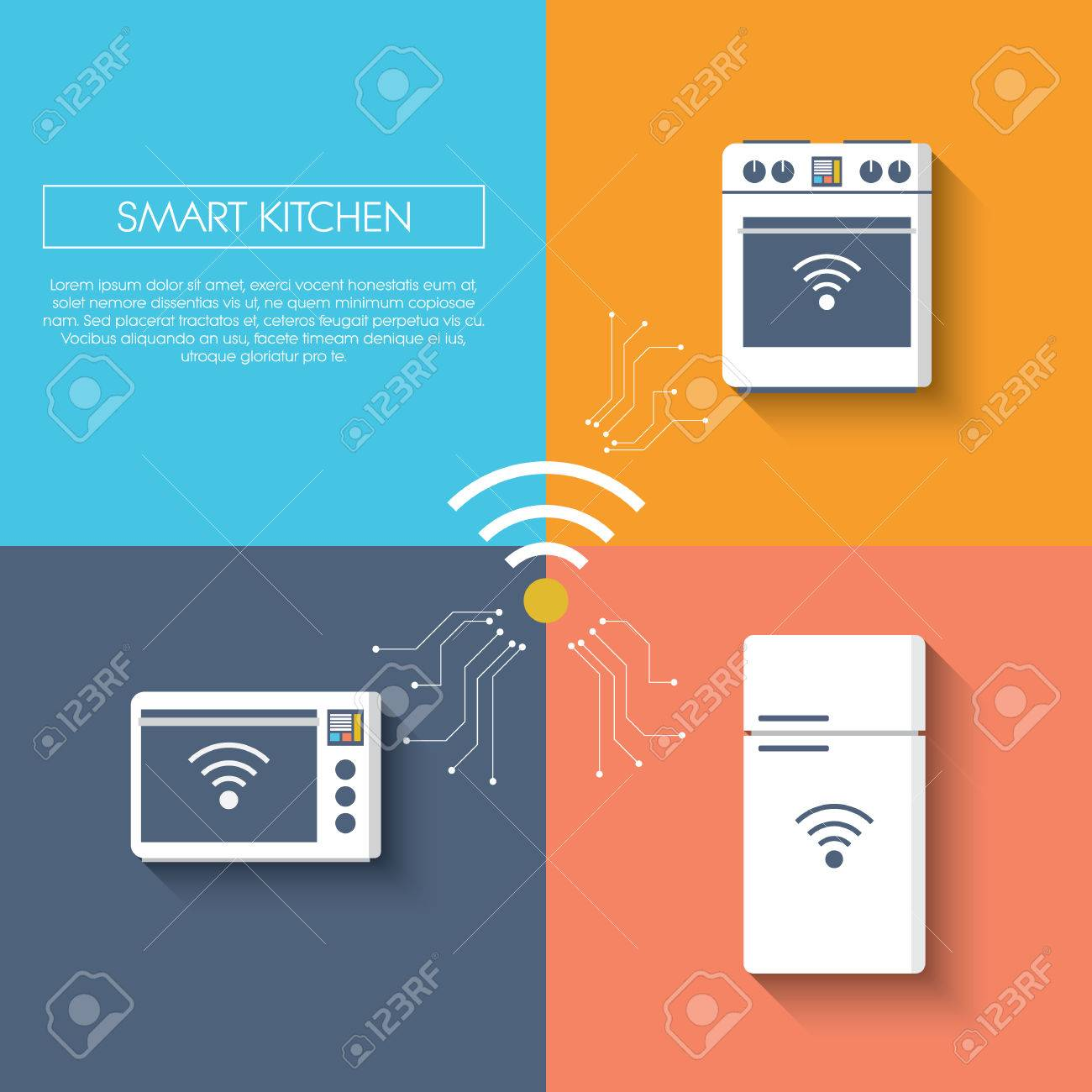Internet Of Things Smart Kitchen Concept With Appliances ...