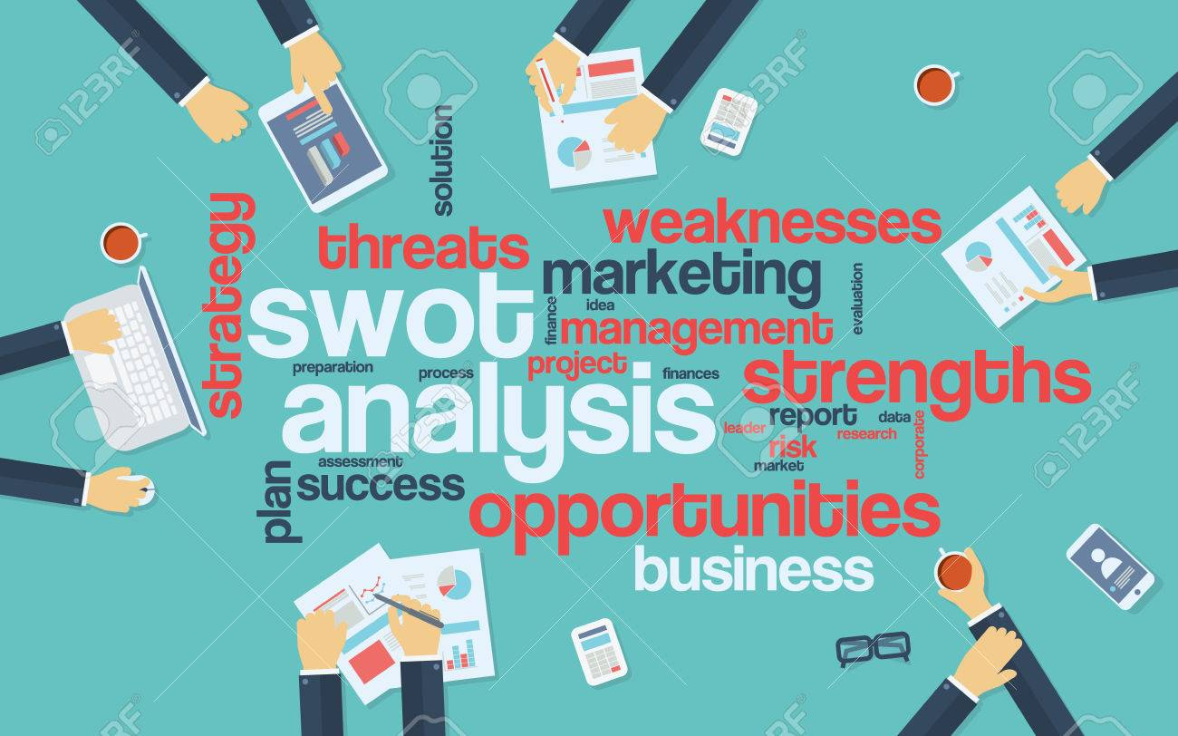 Poster design keywords - Swot Analysis Infographics Poster With Businessmen Working Around The Word Cloud Analysis And Planning Keywords