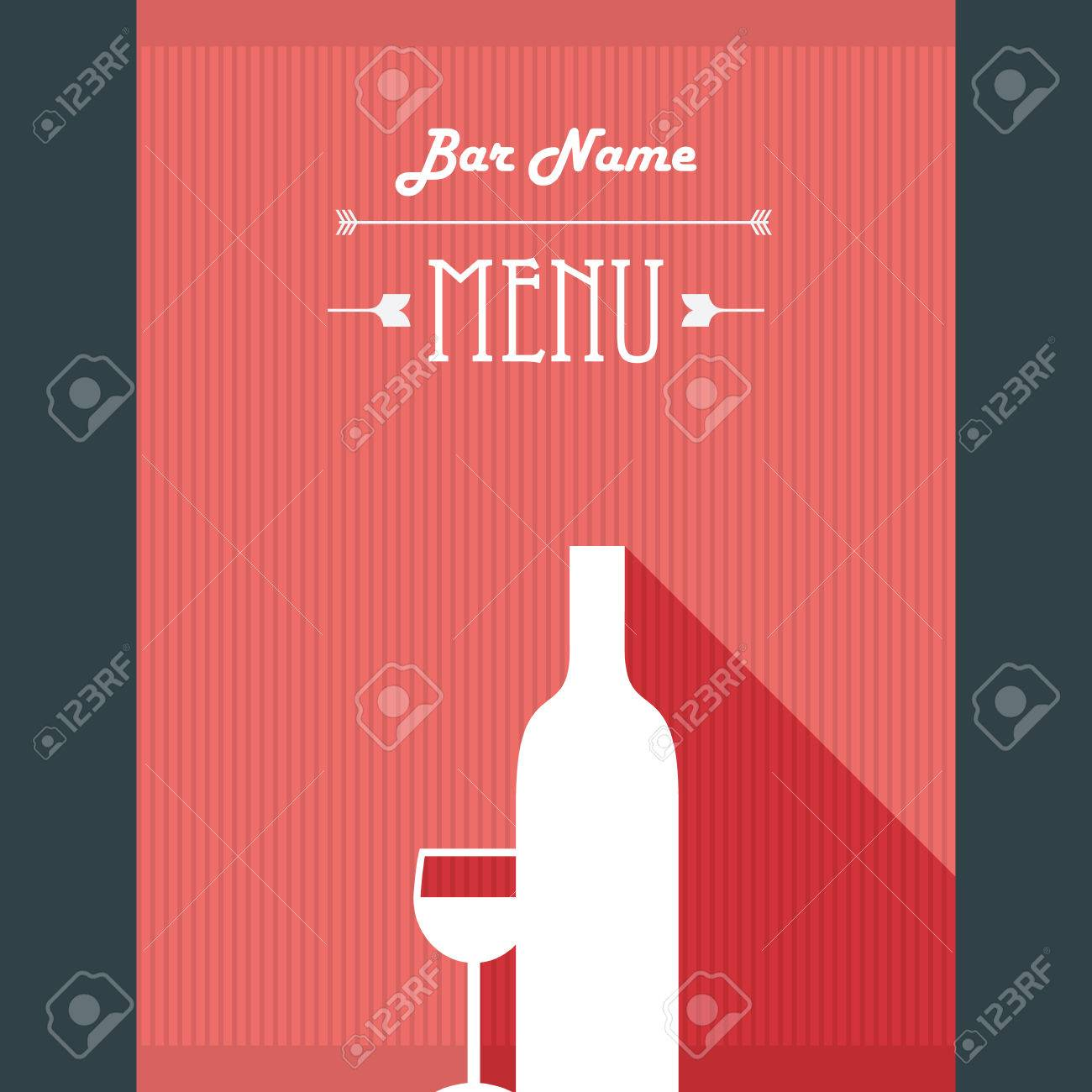 Alcohol Drinks Restaurant Menu Template. Wine Bar Background With Glass And  Bottle. Eps10 Vector