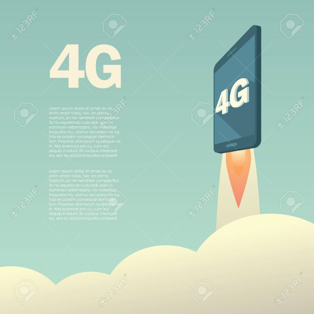 4g or lte presentation poster template with smartphone flying