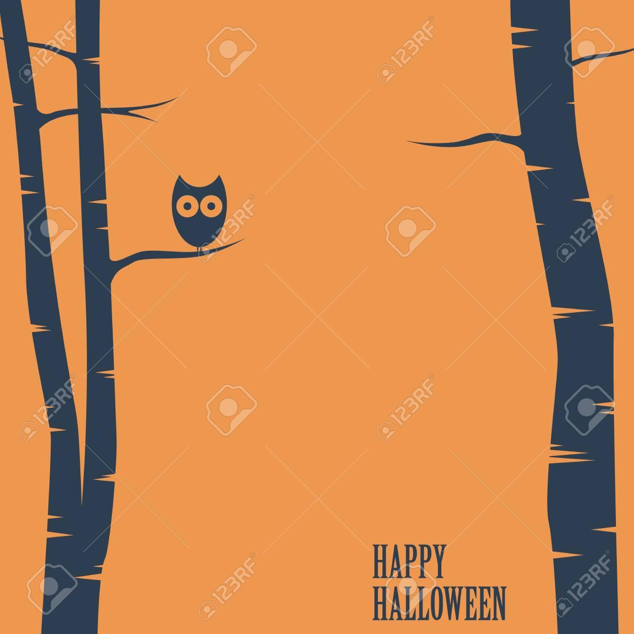 happy halloween card owl sitting on tree holiday postcard happy halloween card owl sitting on tree holiday postcard template space for text