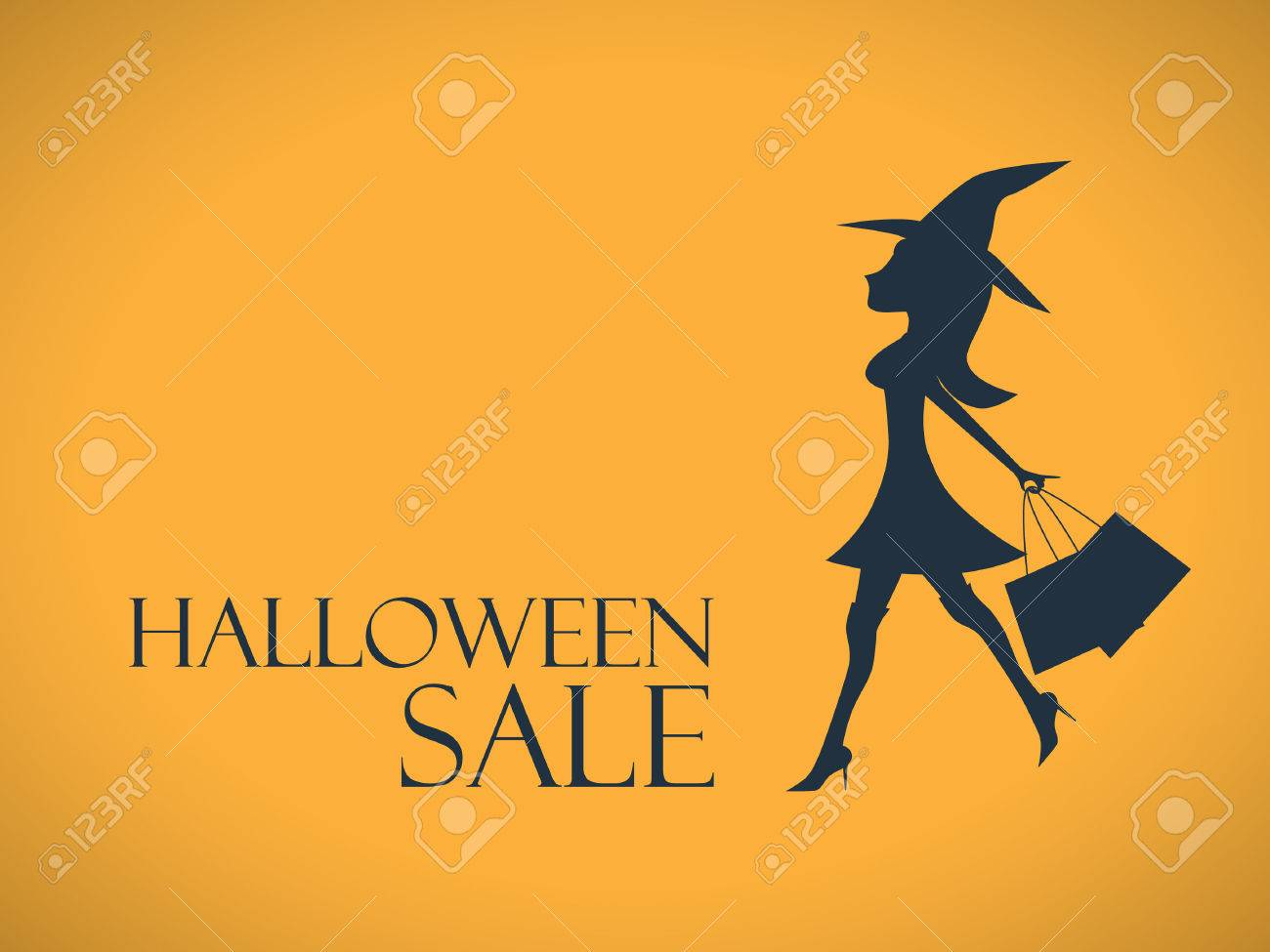 Superior Halloween Sale Background. Elegant, Sexy Witch With Shopping Bags. Special  Offers Advertising.