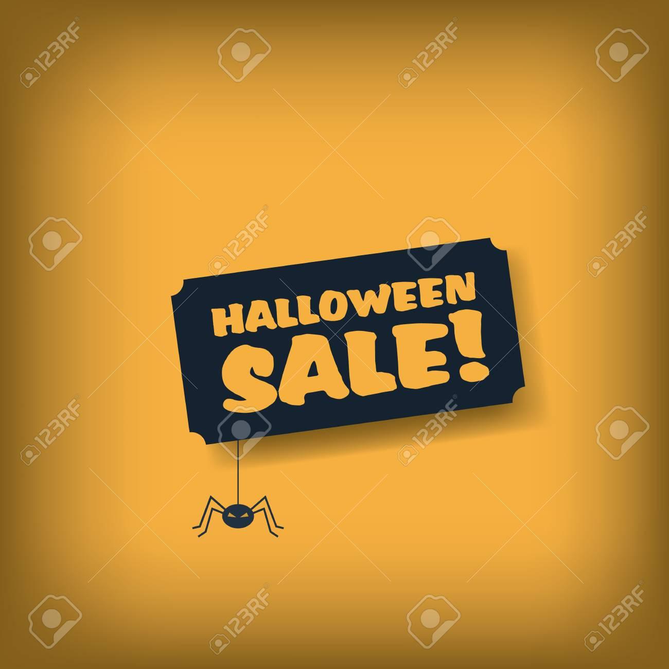 De Halloween Plantilla Cartel De Venta. Banner De Publicidad Con La ...
