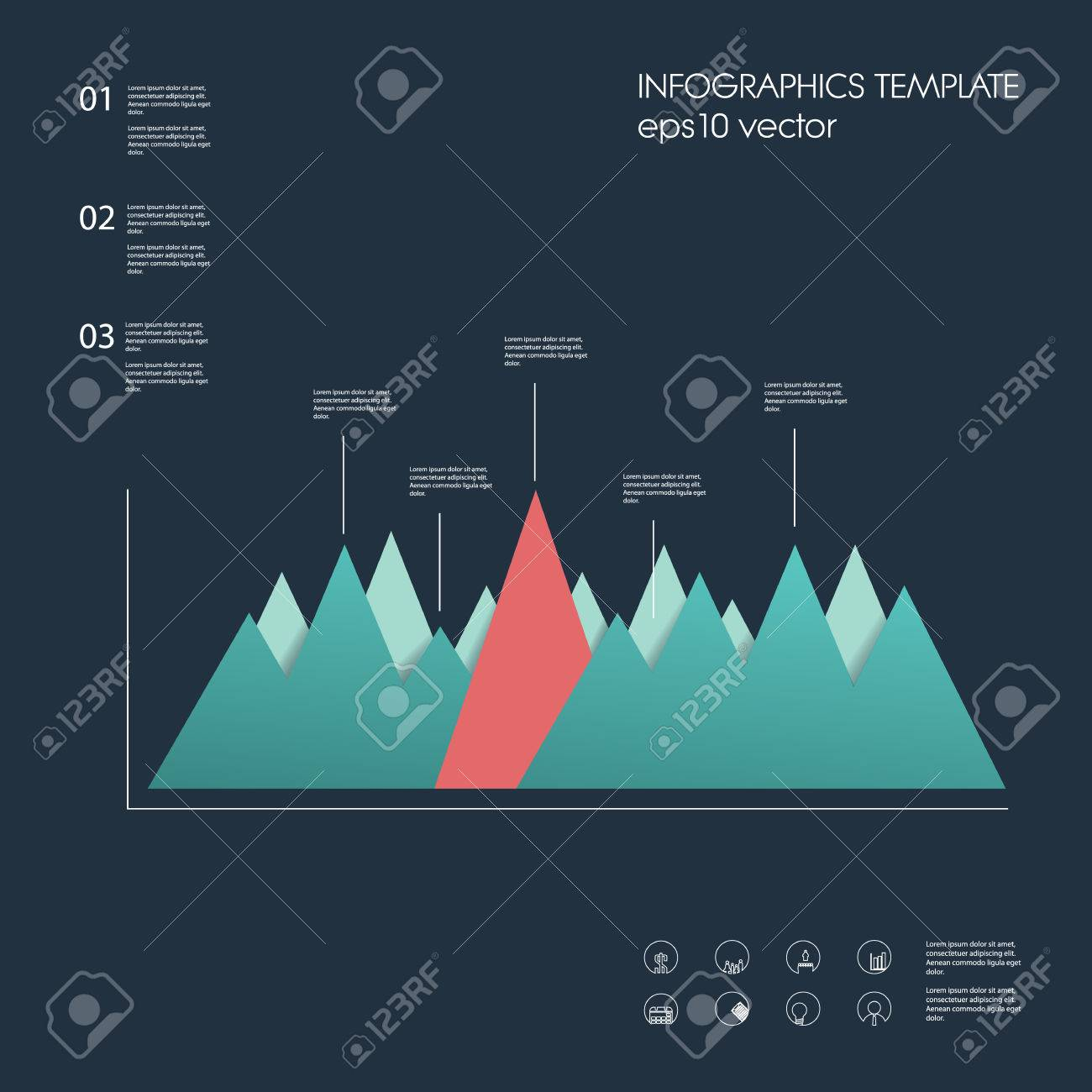 Material design graph element peak chart with menu options peak chart with menu options infographics template suitable for pronofoot35fo Images