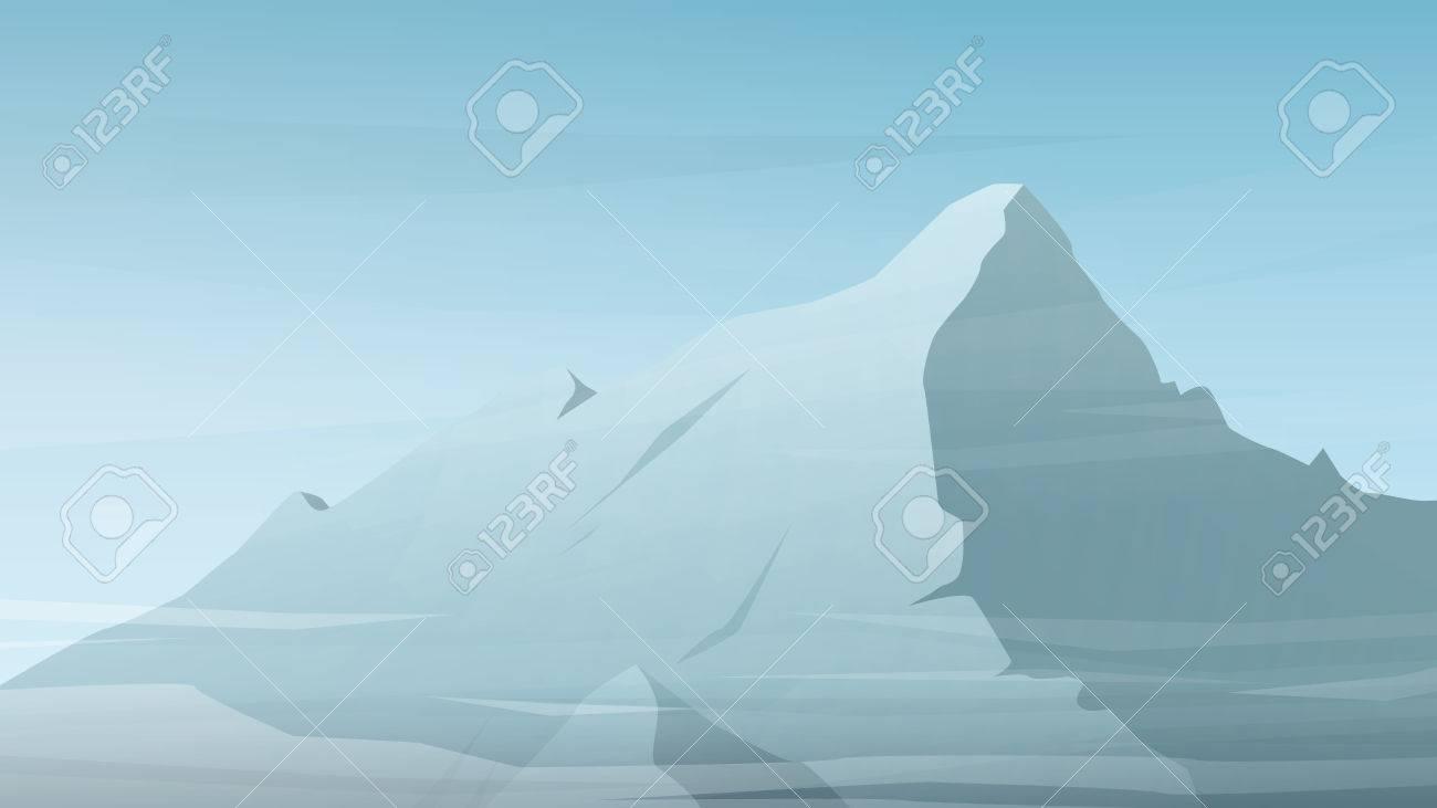高山のピークのベクトル イラスト 冬雲とシルエットの範囲 アウトドア スポーツの壁紙やウェブサイトのリンク先ページの背景 のイラスト素材 ベクタ Image