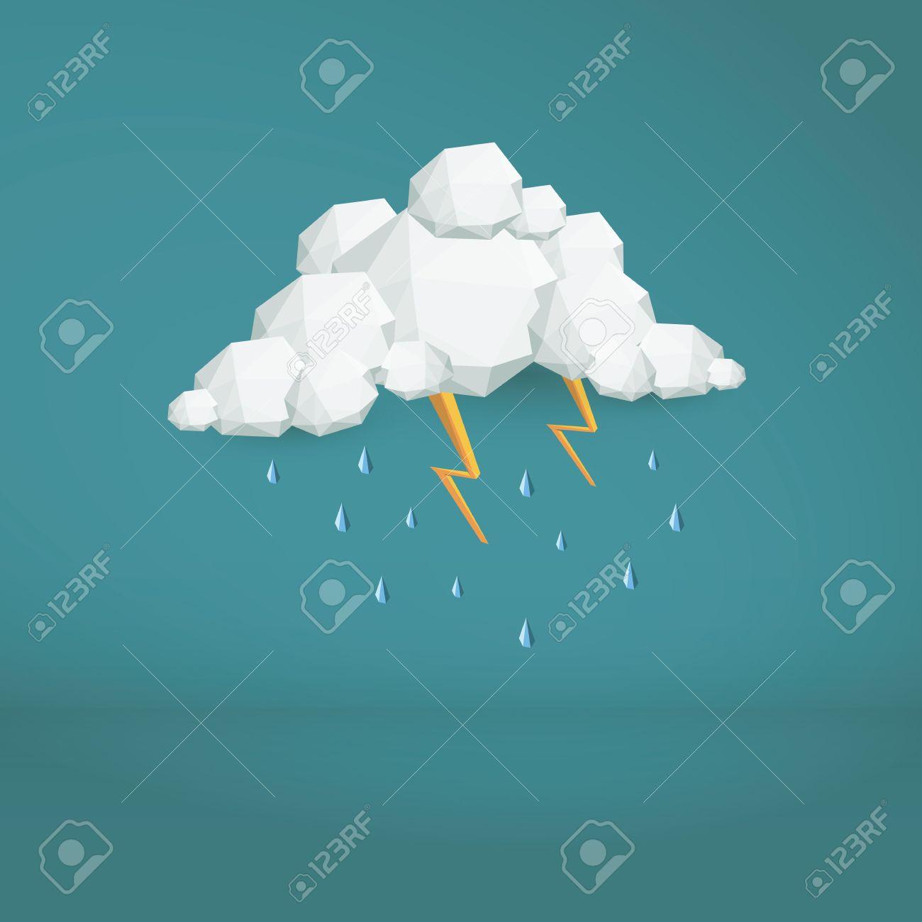 嵐雲低ポリのベクトルの背景 多角形の天気アイコン 近代的な 3 D