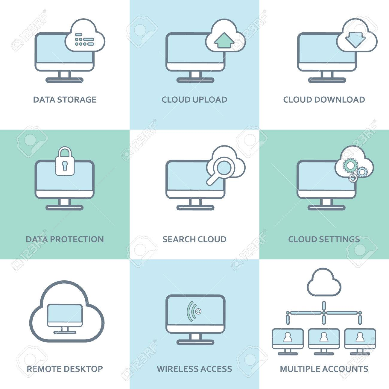 Cloud Computing Icons Collection Set Of Computer Symbols For