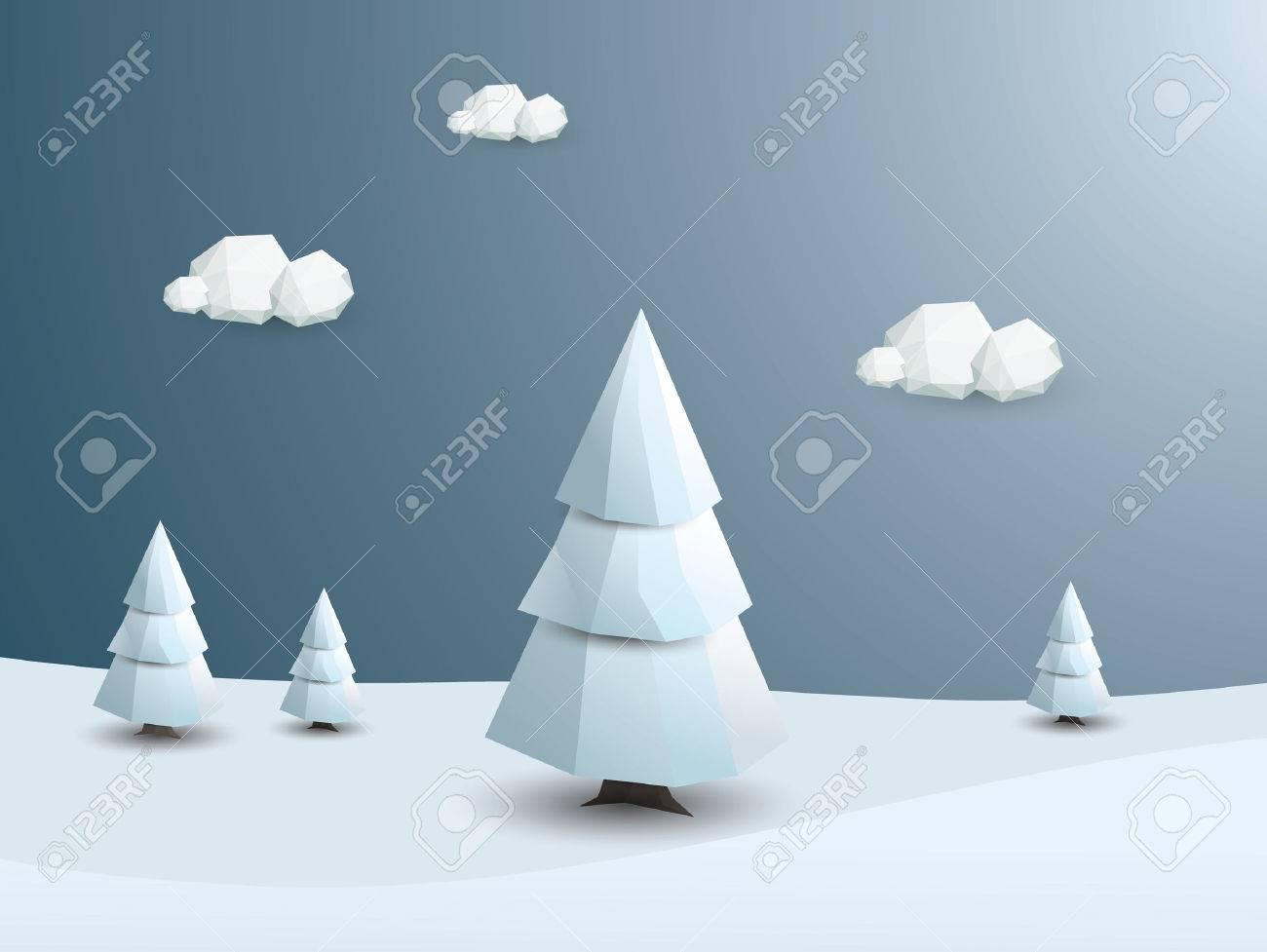 低ポリ冬風景ベクトルの背景 3 D 多角形白木雪 クリスマスの壁紙