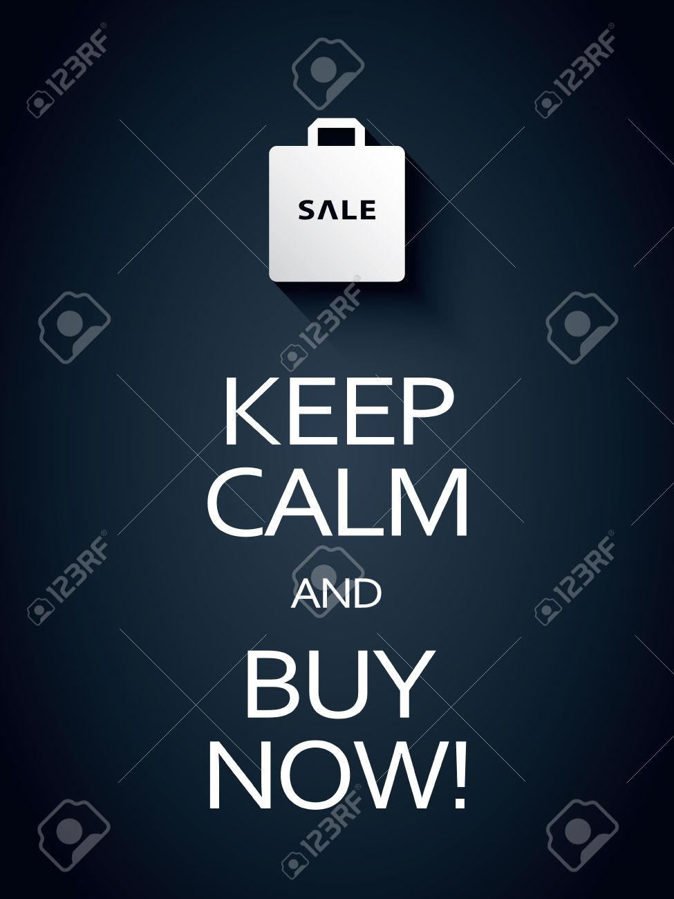 Keep Calm And Buy Now Sale Poster Template With Shopping Bag – Sales Promotion Template