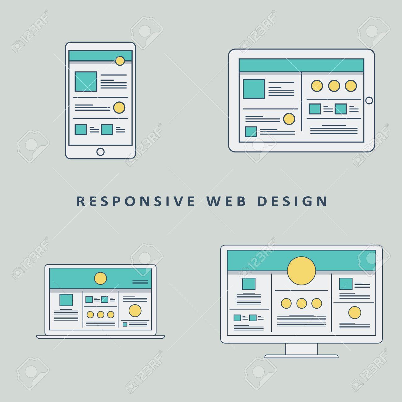 Responsive Web Design Mockup Template Background. Smartphone ...