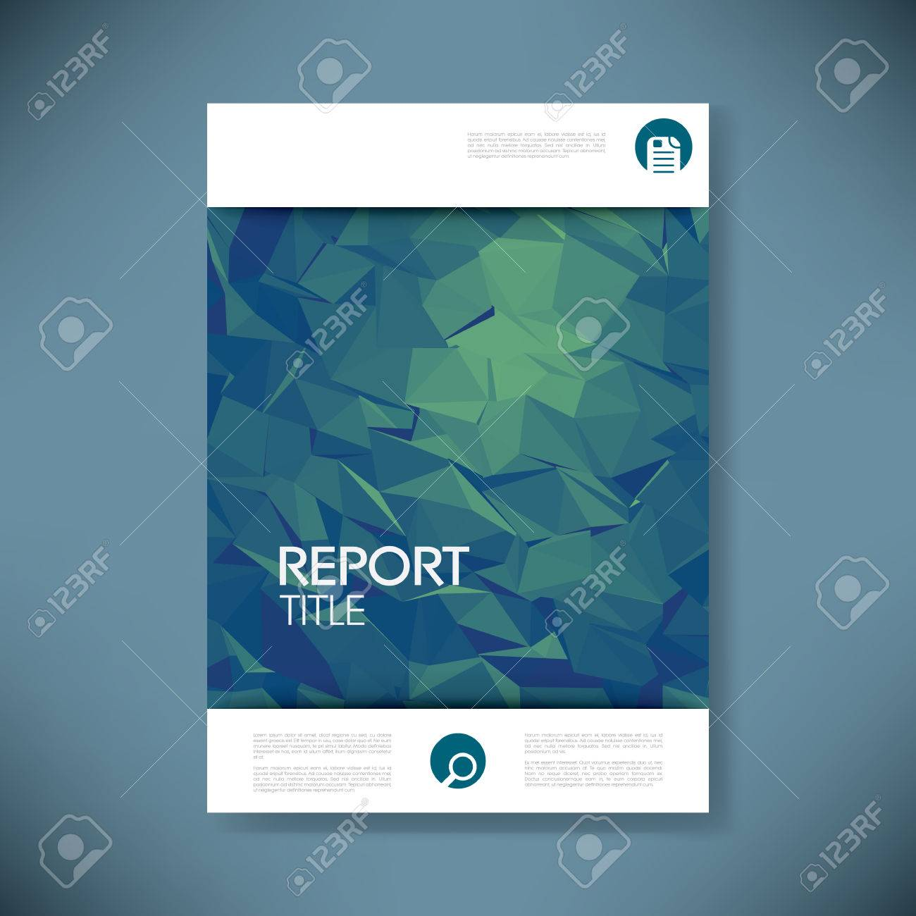 Report Cover Template With 3d Low Poly Vector Background. Business ...