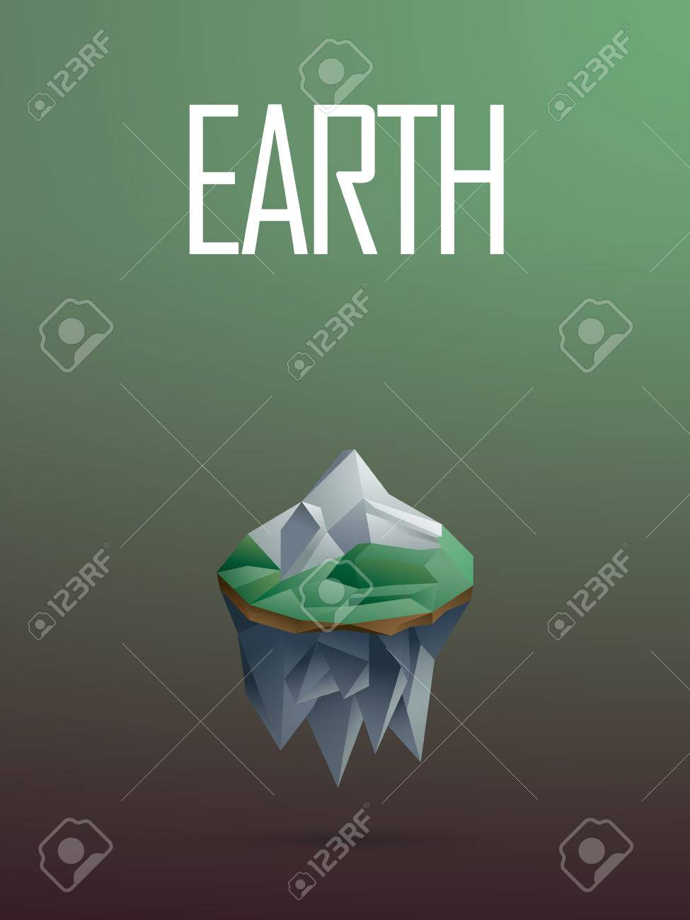 Air Element Symbol In Modern Low Poly Design Polygonal Floating Island With A Mountain Vector