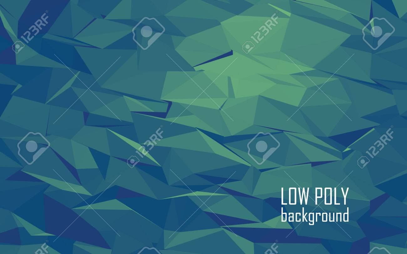 Low Poly 3d Abstract Vector Background. Green, Blue Color Combination For  Sea Underwater Look