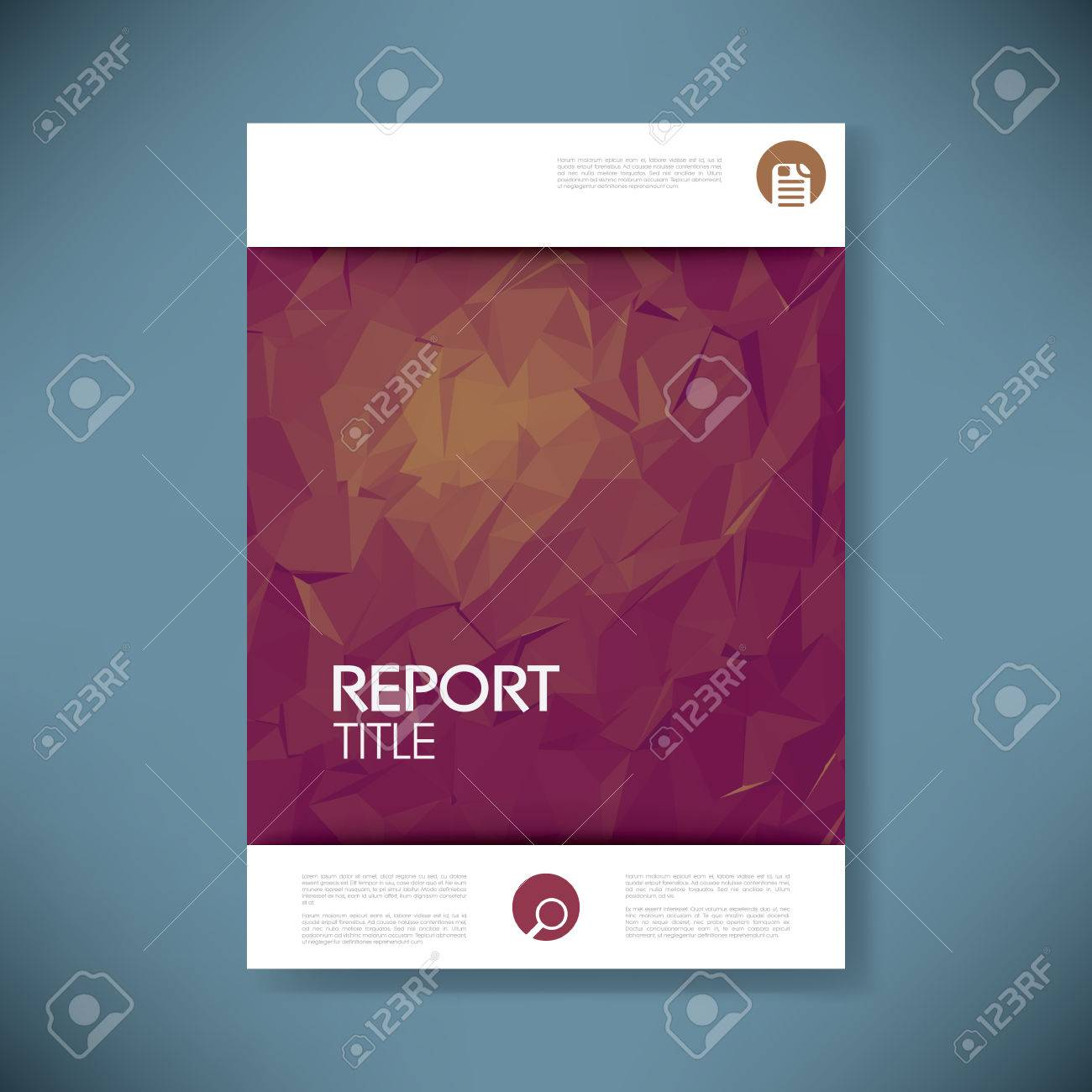 Exceptional Report Cover Template With 3d Low Poly Vector Background. Business Brochure  Or Presentation Title Page  Free Report Cover Page Template