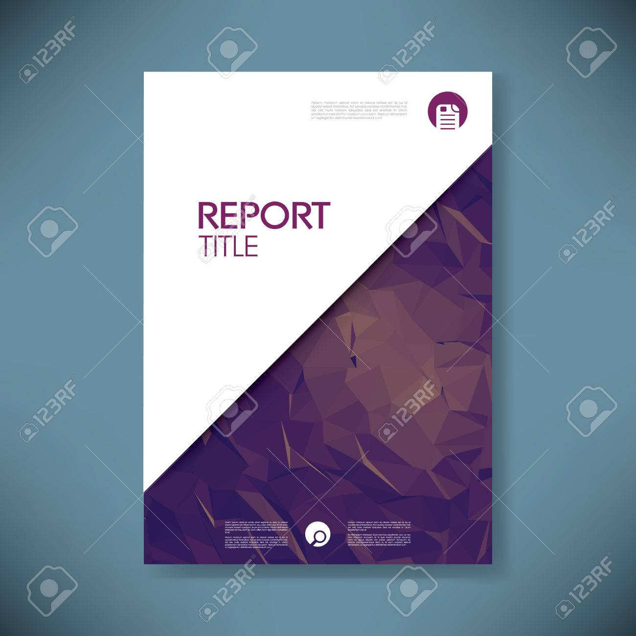 business report cover template on green low poly background, Presentation templates