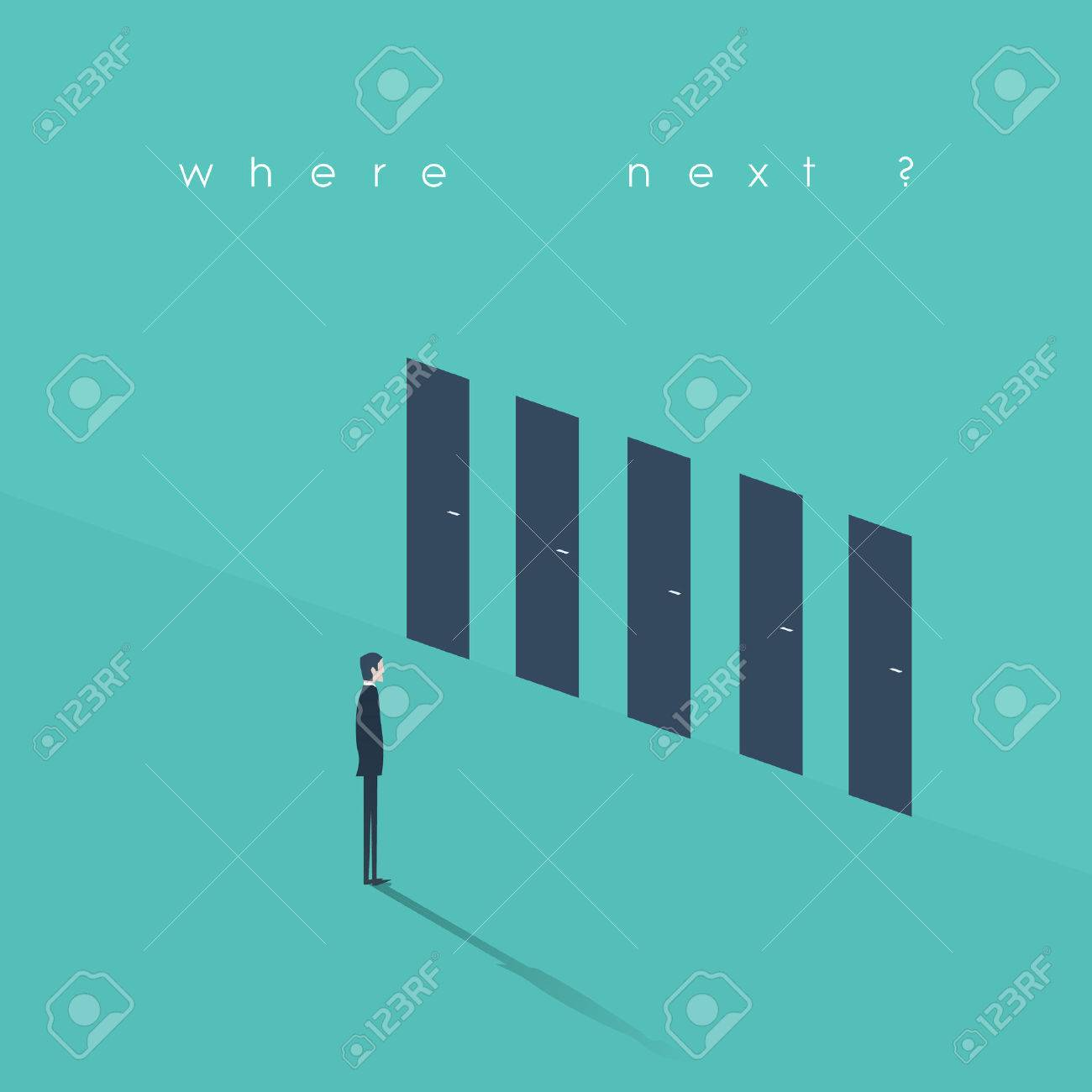 Business decision concept illustration. Businessman standing in front of doors as symbol of choice, career path or opportunities. - 53159731