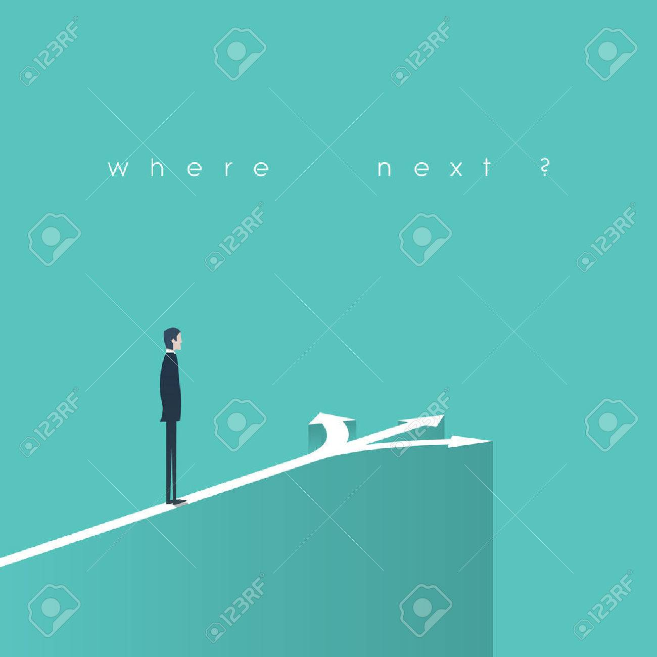 Business decision concept illustration. Businessman standing in front of arrows as symbol for choice, career path or opportunities. - 53159729