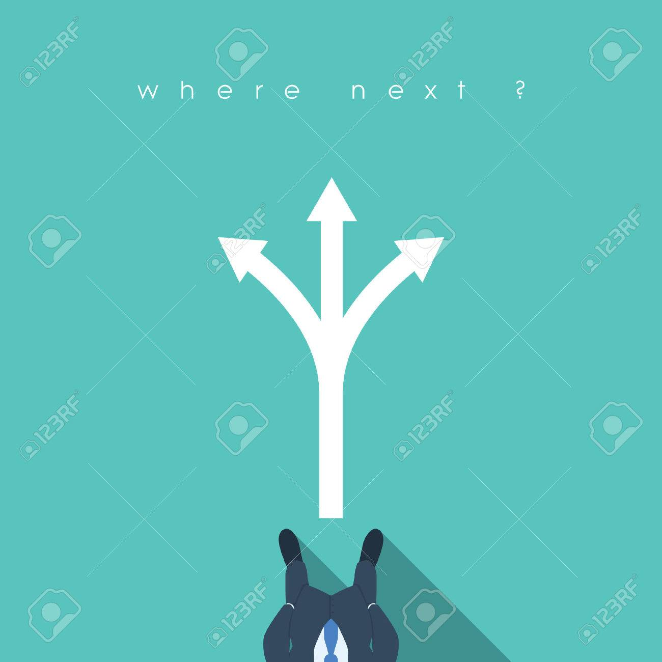 Business decision concept illustration with businessman standing in front of arrows. Career path choice or strategy. vector illustration. - 55428629