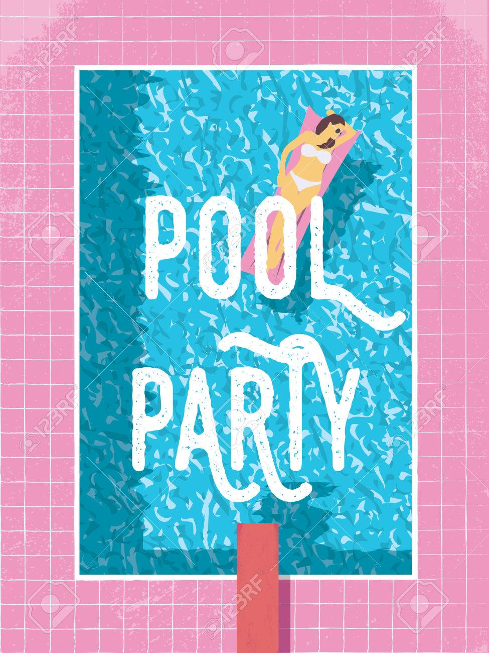 Pool party poster template with woman in bikini sunbathing. 80s retro vintage style vector illustration. - 55668827