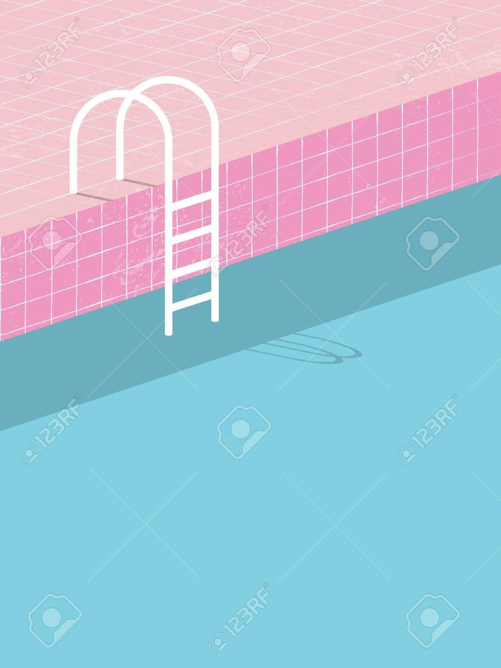 Swimmingpool Im Vintage Stil Alte Retro Rosa Fliesen Und Weissen