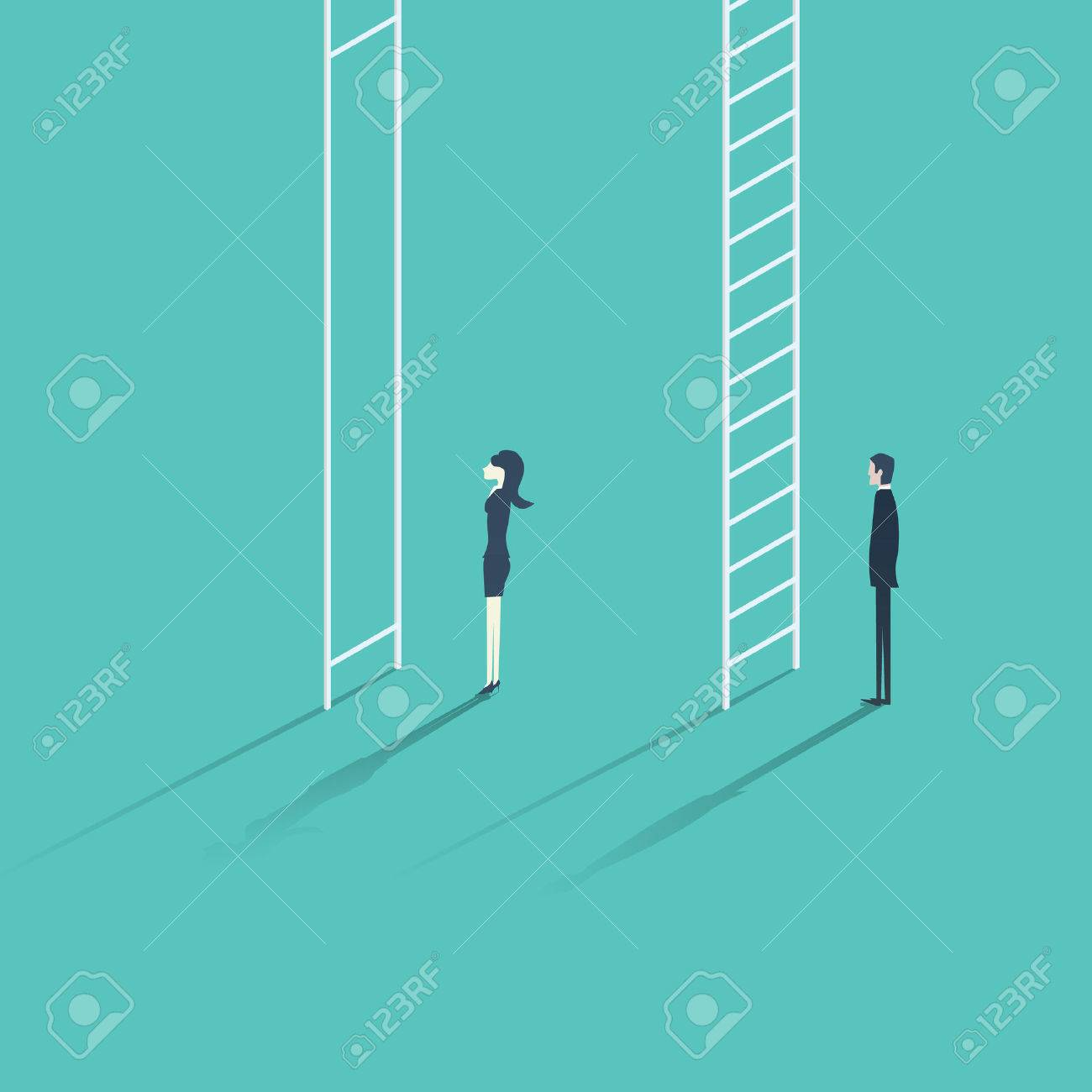 Business woman versus man corporate ladder career concept illustration. Gender inequality issue with different opportunities for males and females. - 57017829
