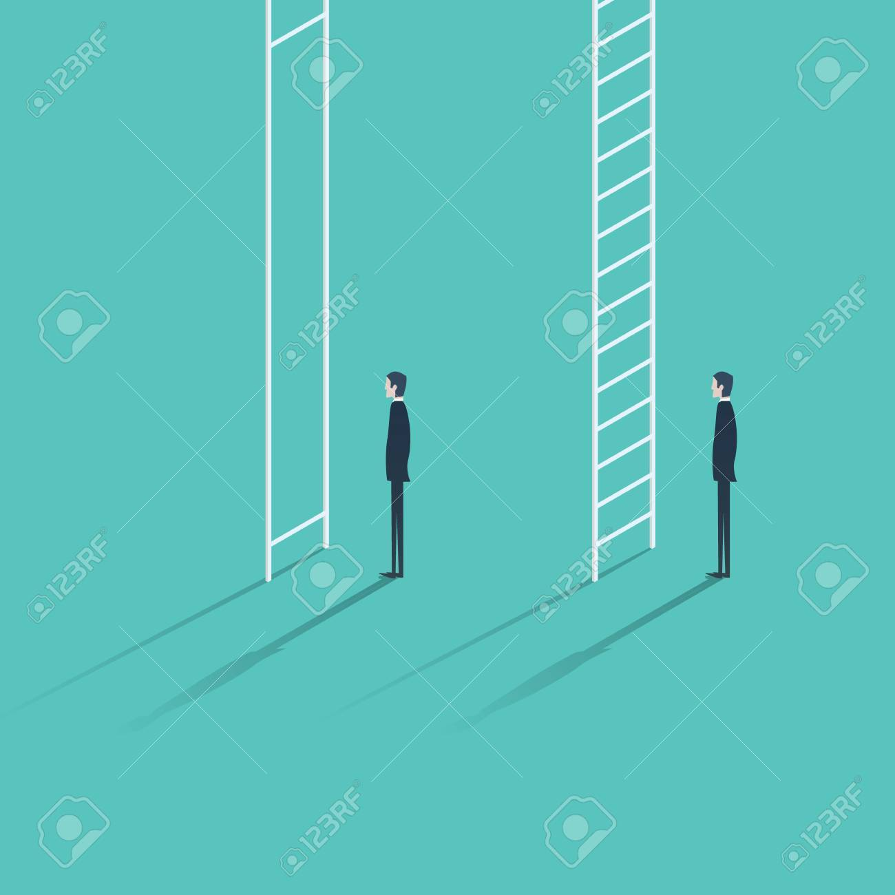 inequality in career promotion concept two businessmen standing inequality in career promotion concept two businessmen standing and climbing corporate ladders business concept