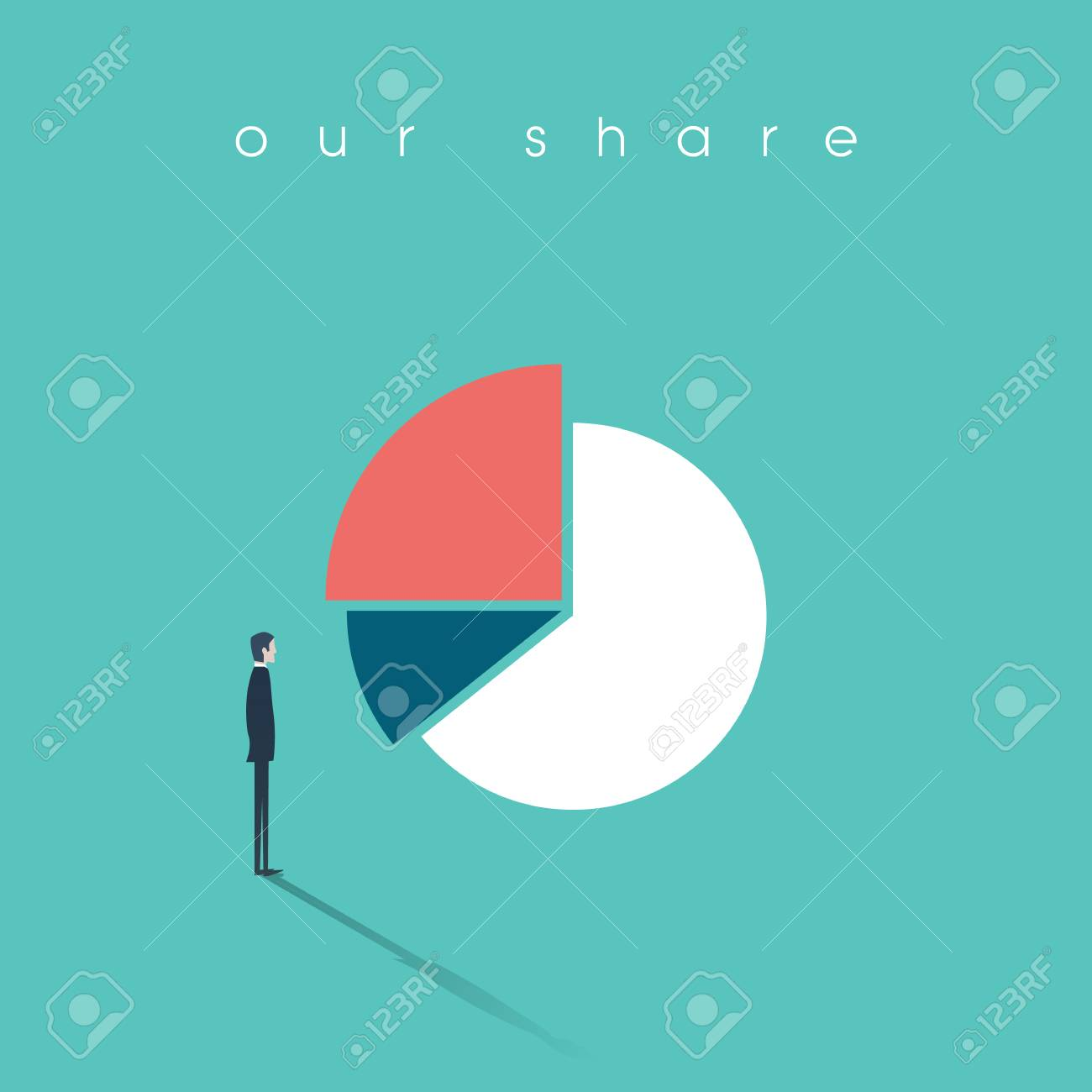 Businessman standing and looking at pie chart as symbol of businessman standing and looking at pie chart as symbol of business analysis market share presentation biocorpaavc Choice Image