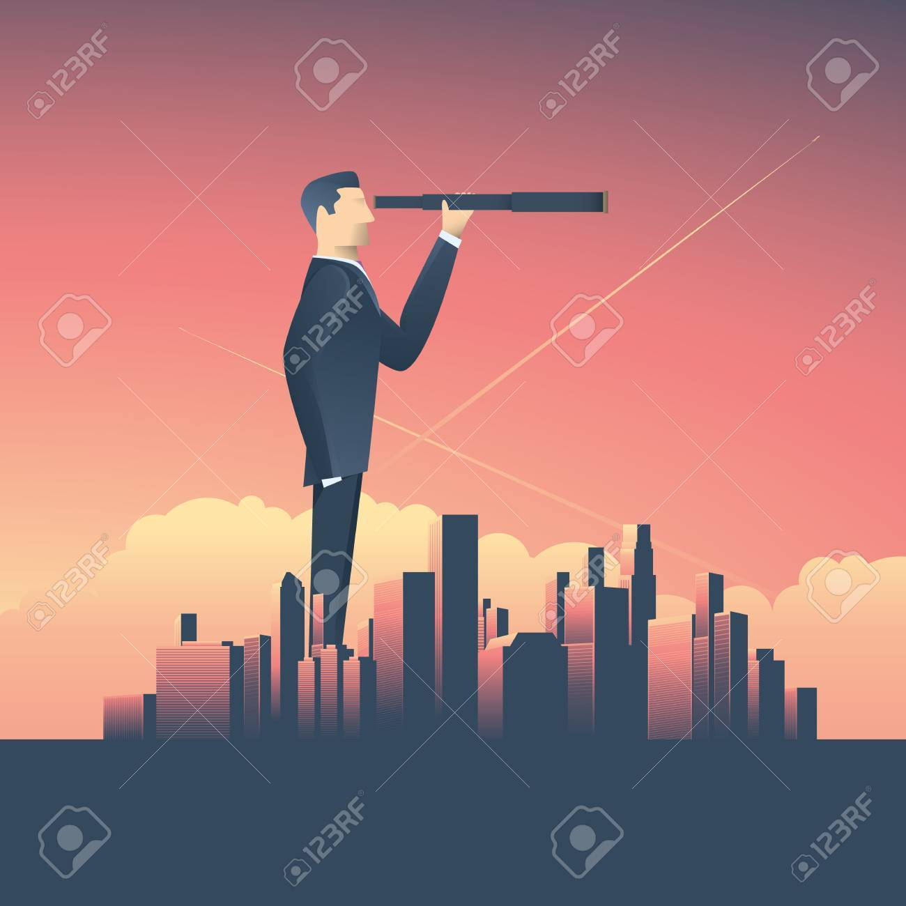 Vision concept in business with vector icon of businessman and telescope, monocular with corporate skyline cityscape background. - 63661921
