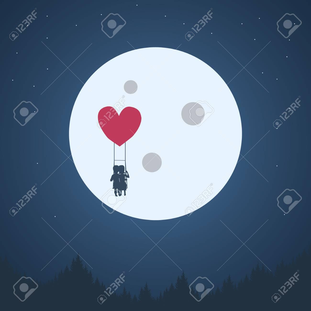 バレンタインの日ロマンチックな背景 男の子と女の子かわいい愛らしい