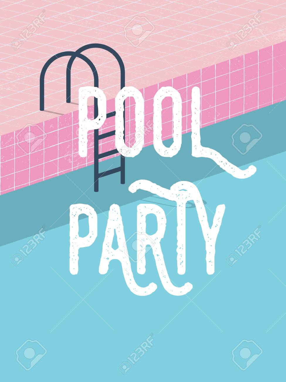 Pool Party In Summer Invitation Poster Template Concept With ...