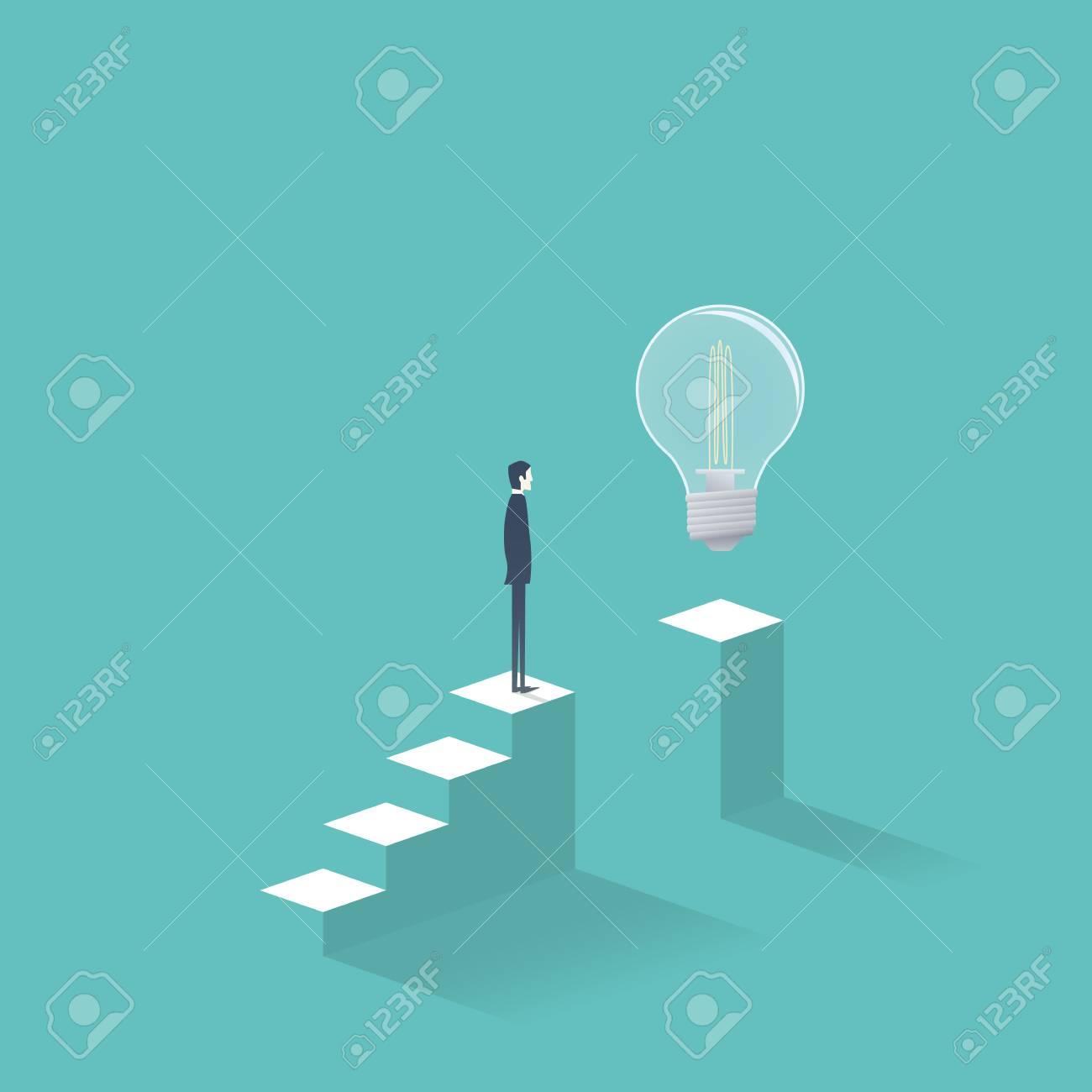 Créativité commerciale et recherche de solutions vectorielles avec homme  daffaires se tenant debout sur des marches tentant dobtenir de nouvelles  ...