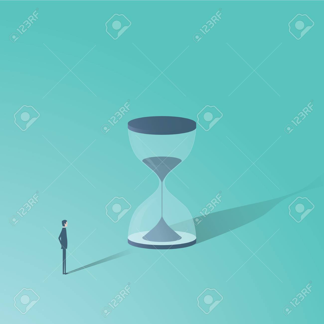 492b80394d2 Businessman looking at hourglass vector minimalist concept. Time is money  symbol