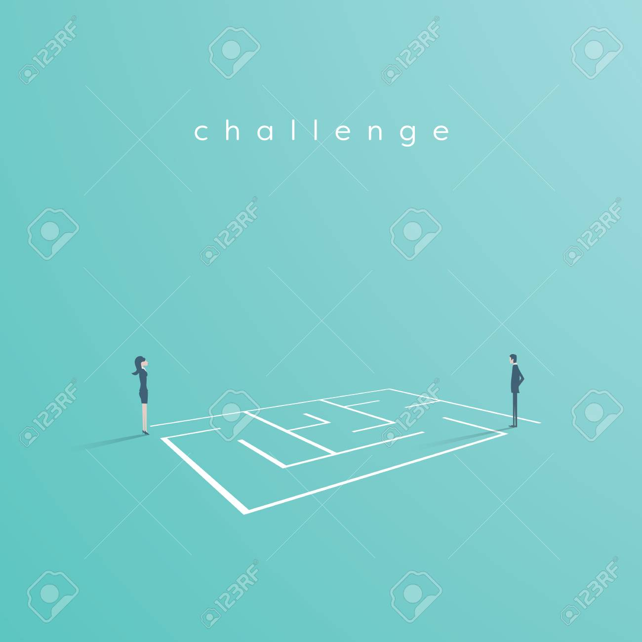 Business solution and challenge vector concept. Businesswoman and businessman standing next to a maze, labyrinth. Eps10 vector illustration. - 96252990