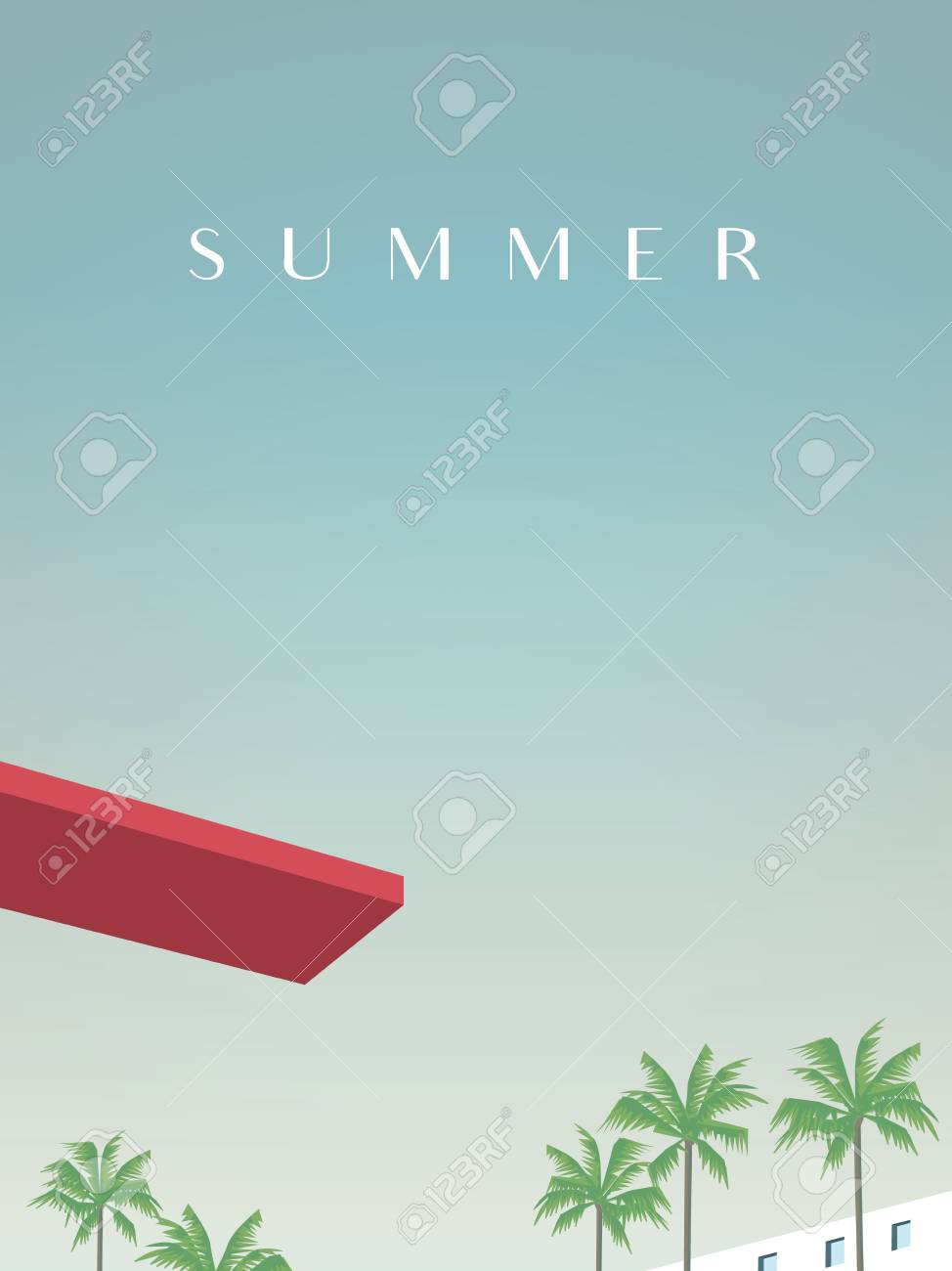 Summer retro vintage poster vector template with jumping board..