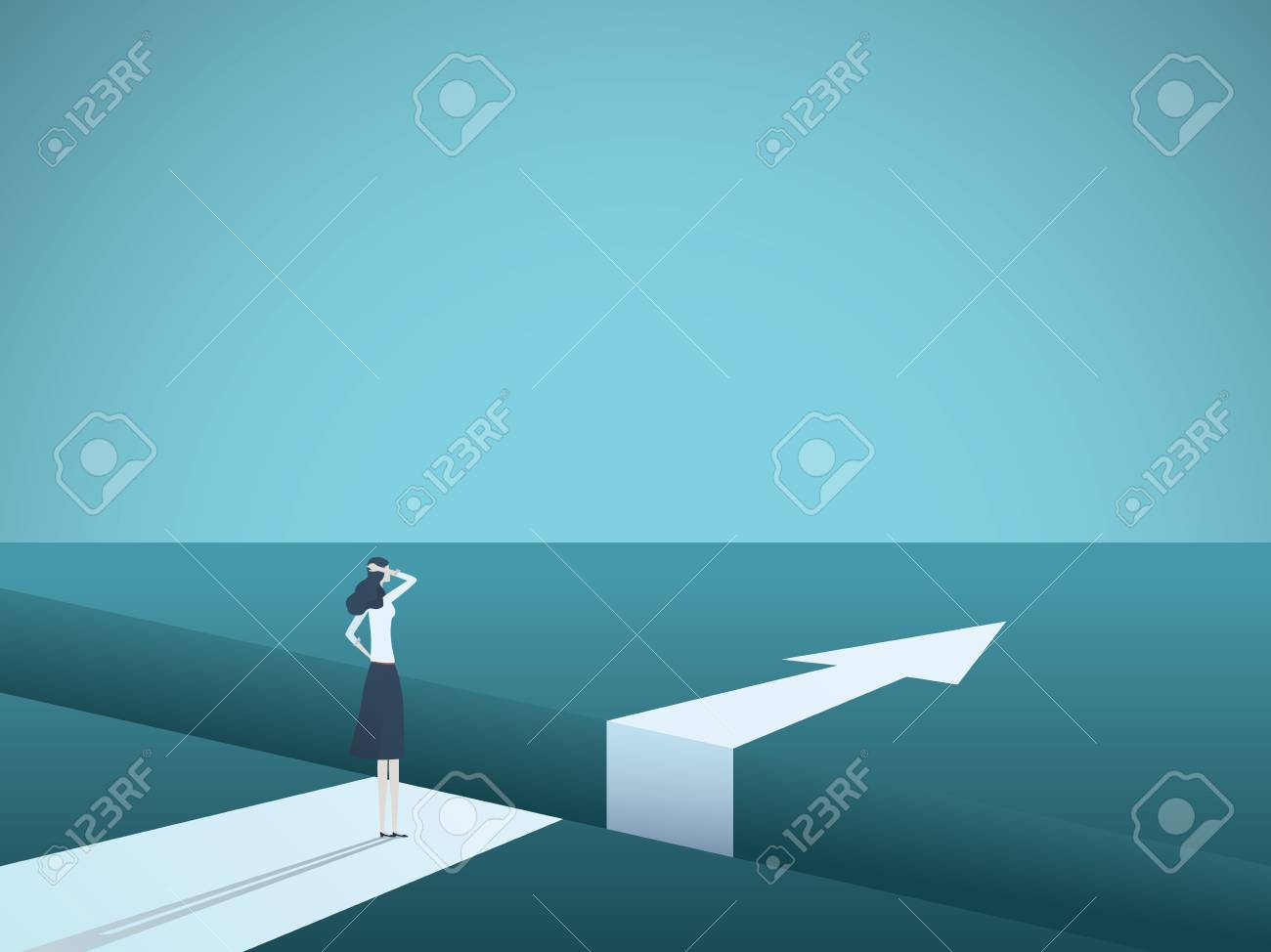Business challenge and solution vector concept with businesswoman standing over big gap. - 101255979