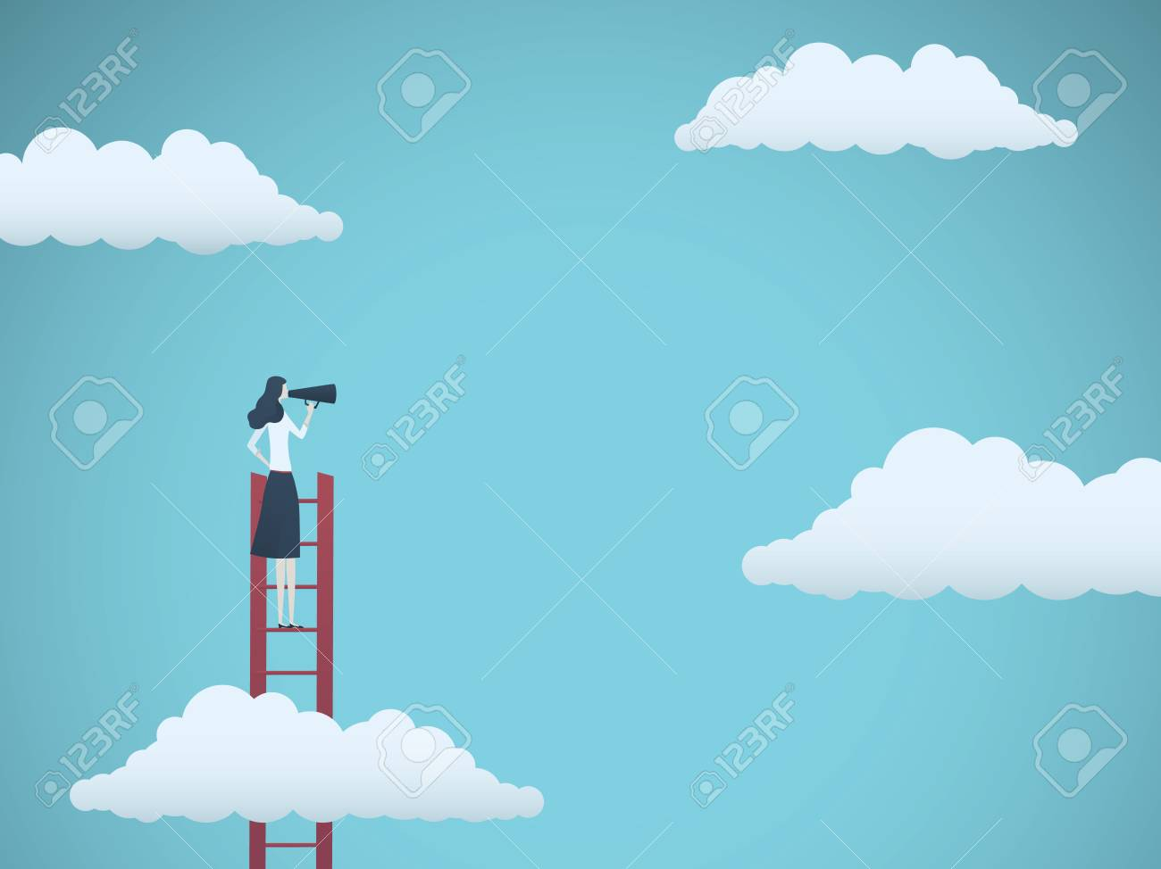 Public speaker or business leader vector concept. Businesswoman speaking through megaphone on a ladder. Symbol of motivation, challenge, ambition. Eps10 vector illustration. - 107359157