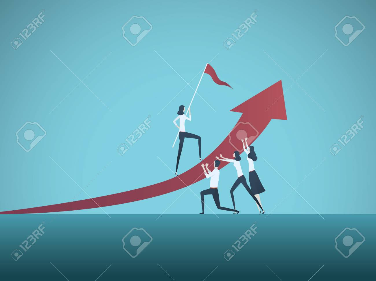 Business objective, goal or target vector concept. Team of business people working together. Symbol of growth, teamwork, challenge. Eps10 vector illustration. - 107747311