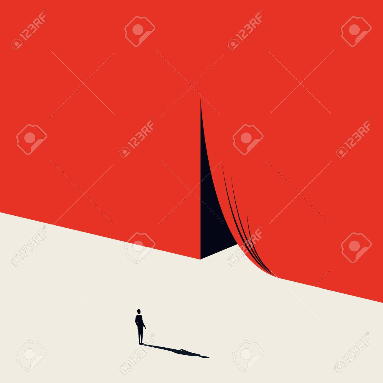 Business opportunity and challenge vector concept with businessman and curtains opening. Minimalist artistic style. Symbol of achievement, motivation, success, new job, beginning. Eps10 illustration. - 123965268