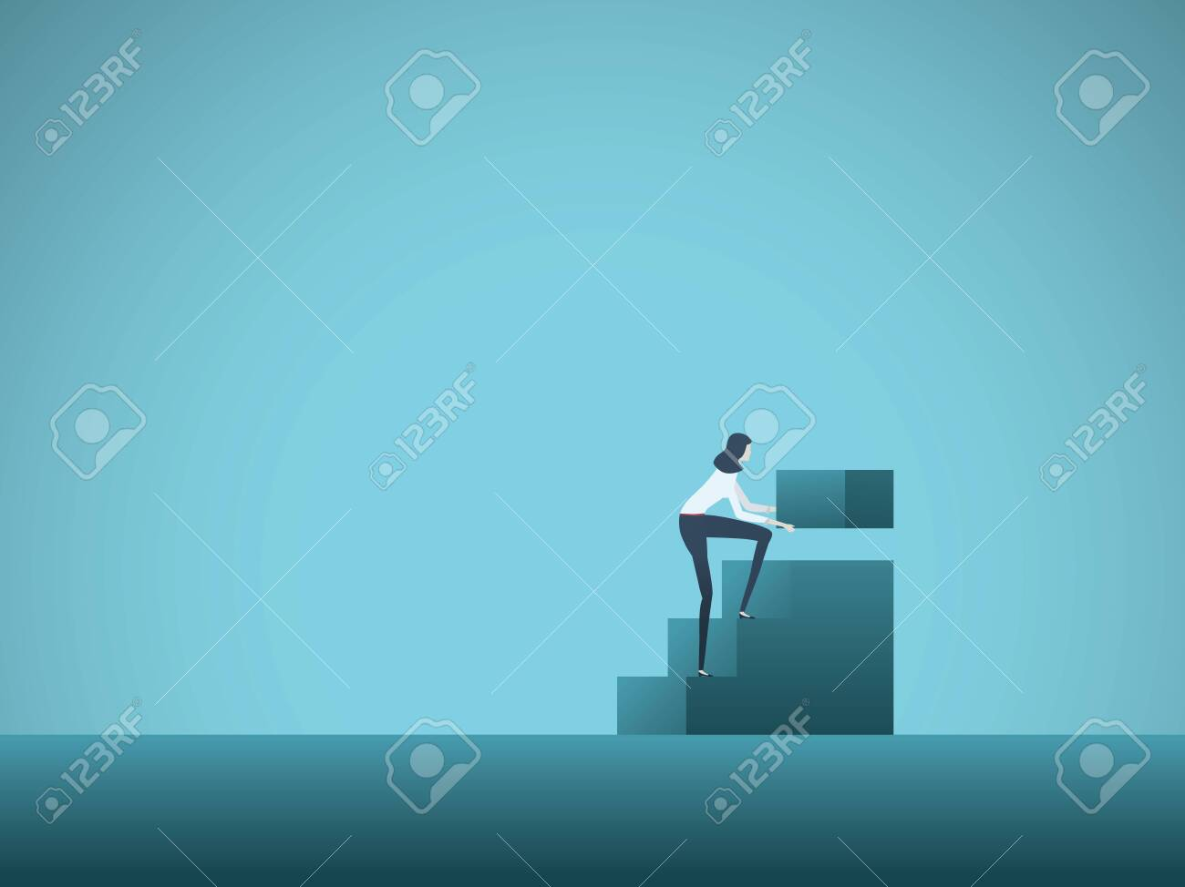 Business growth and career development vector concept with businesswoman building steps. Symbol of career ladder, promotion, success, rise, ambition and motivation. Eps10 illustration. - 122551175