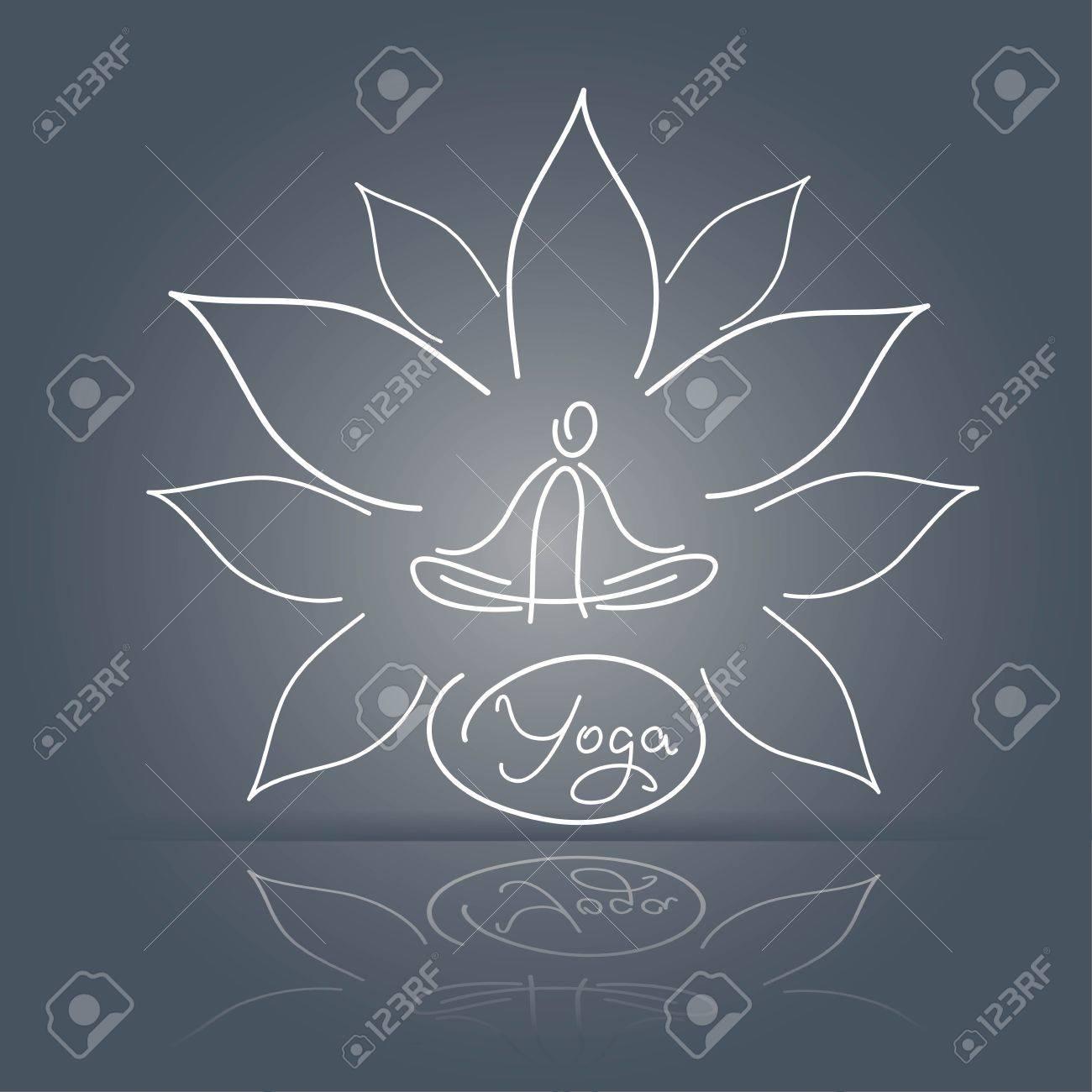 Emblem yoga pose on a linear background lotus flower design royalty emblem yoga pose on a linear background lotus flower design stock vector 35488868 izmirmasajfo