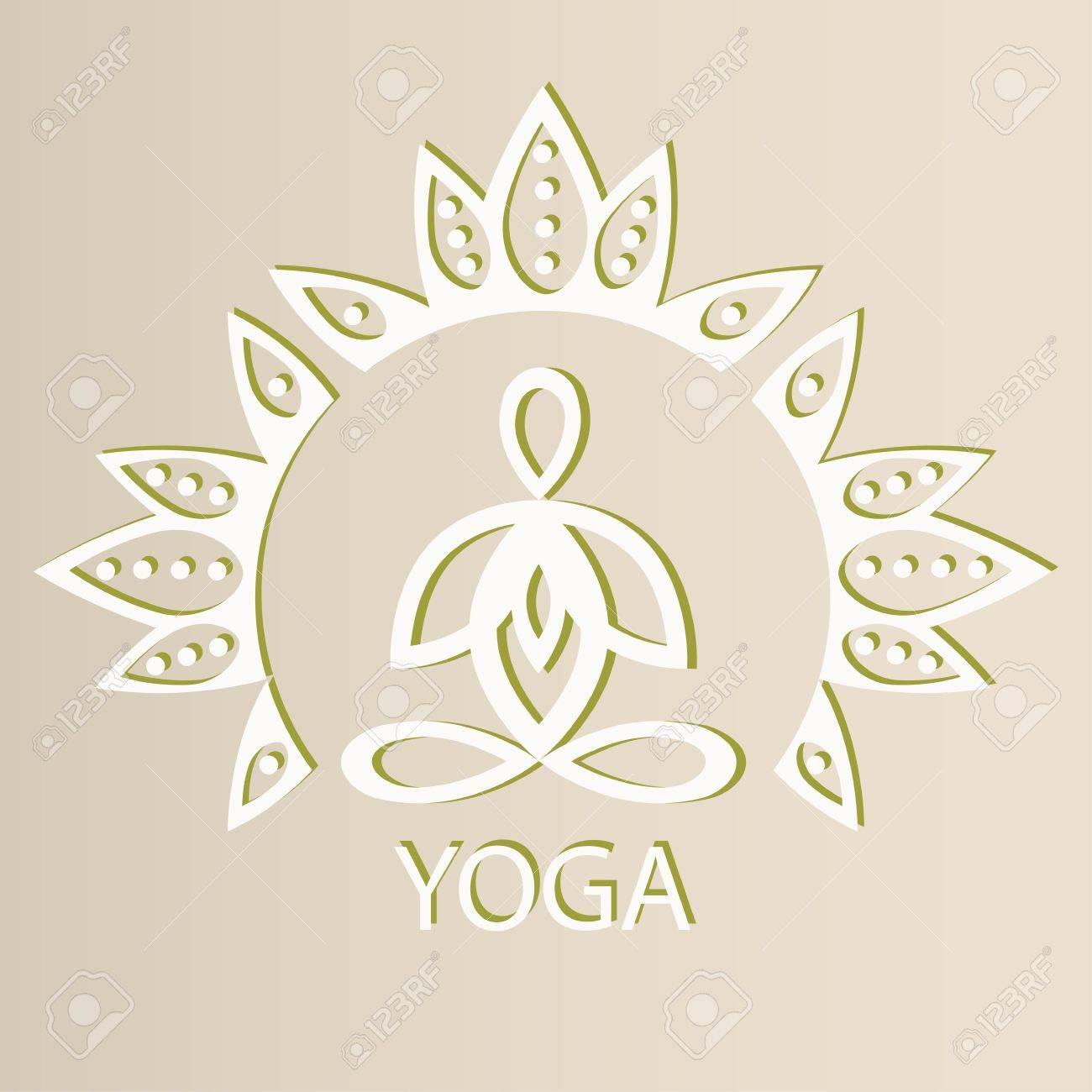 Emblem Yoga Pose On A Lotus Flower Background Design Silhouette