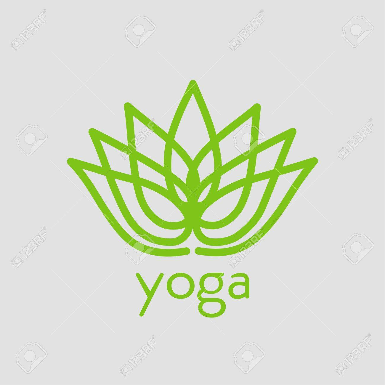 Stylized Lotus Flower Emblem Icon For Yoga Design Royalty Free