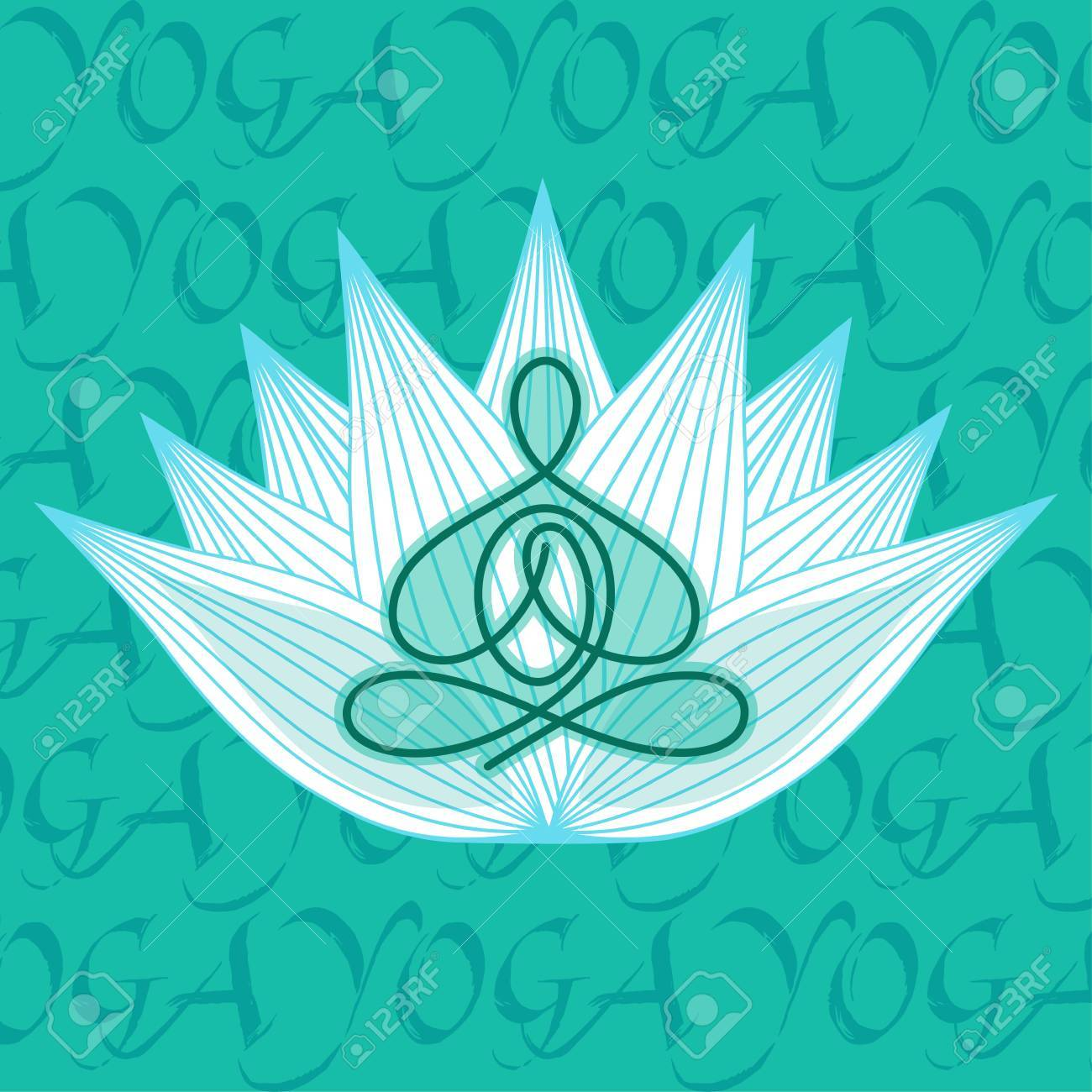 Picture Man In Yoga Pose On A Lotus Flower Design Royalty Free