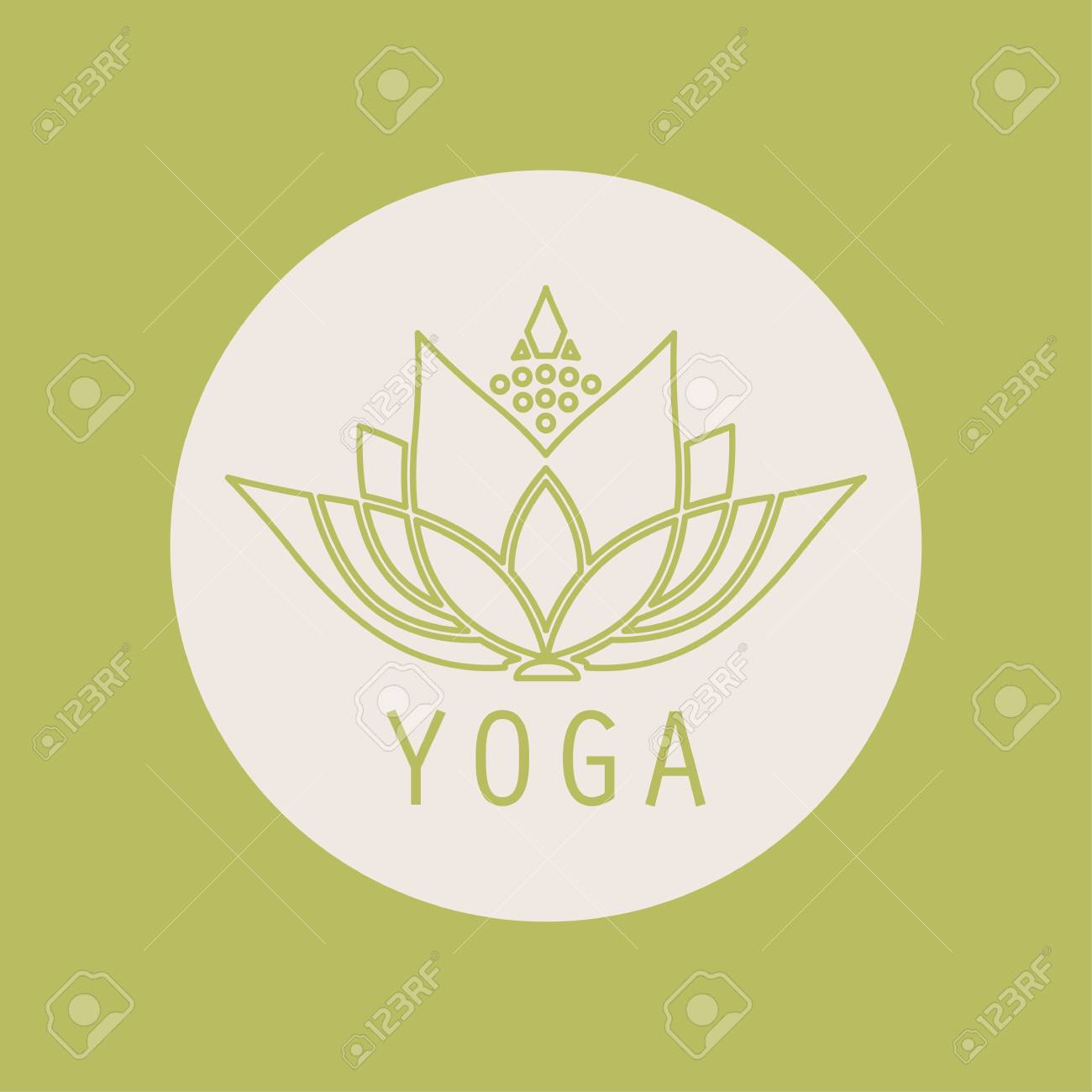 Emblem Yoga Icon Round Lotus Flower Design Royalty Free Cliparts